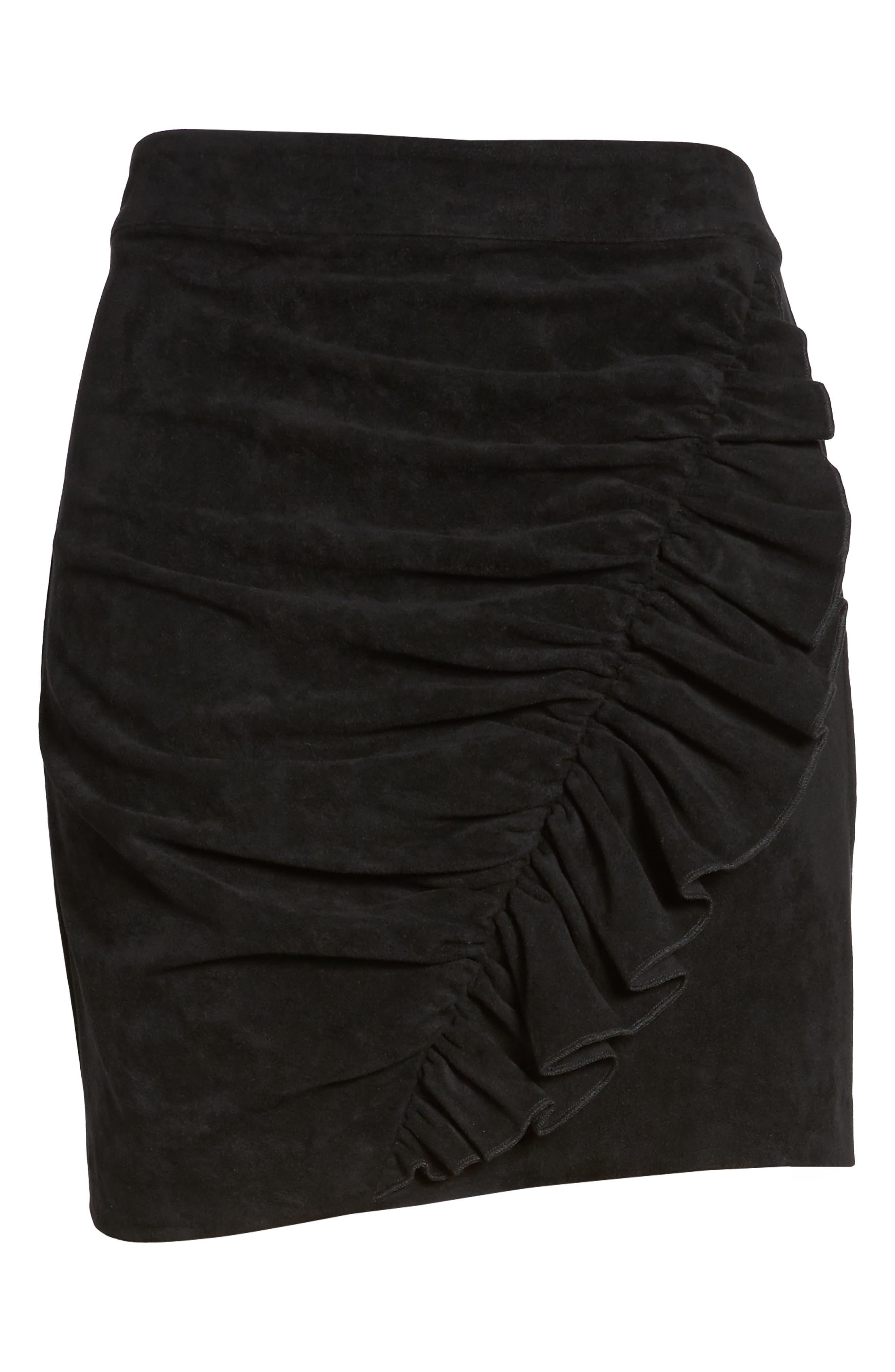 Mabel Ruched Miniskirt,                             Alternate thumbnail 6, color,                             Black