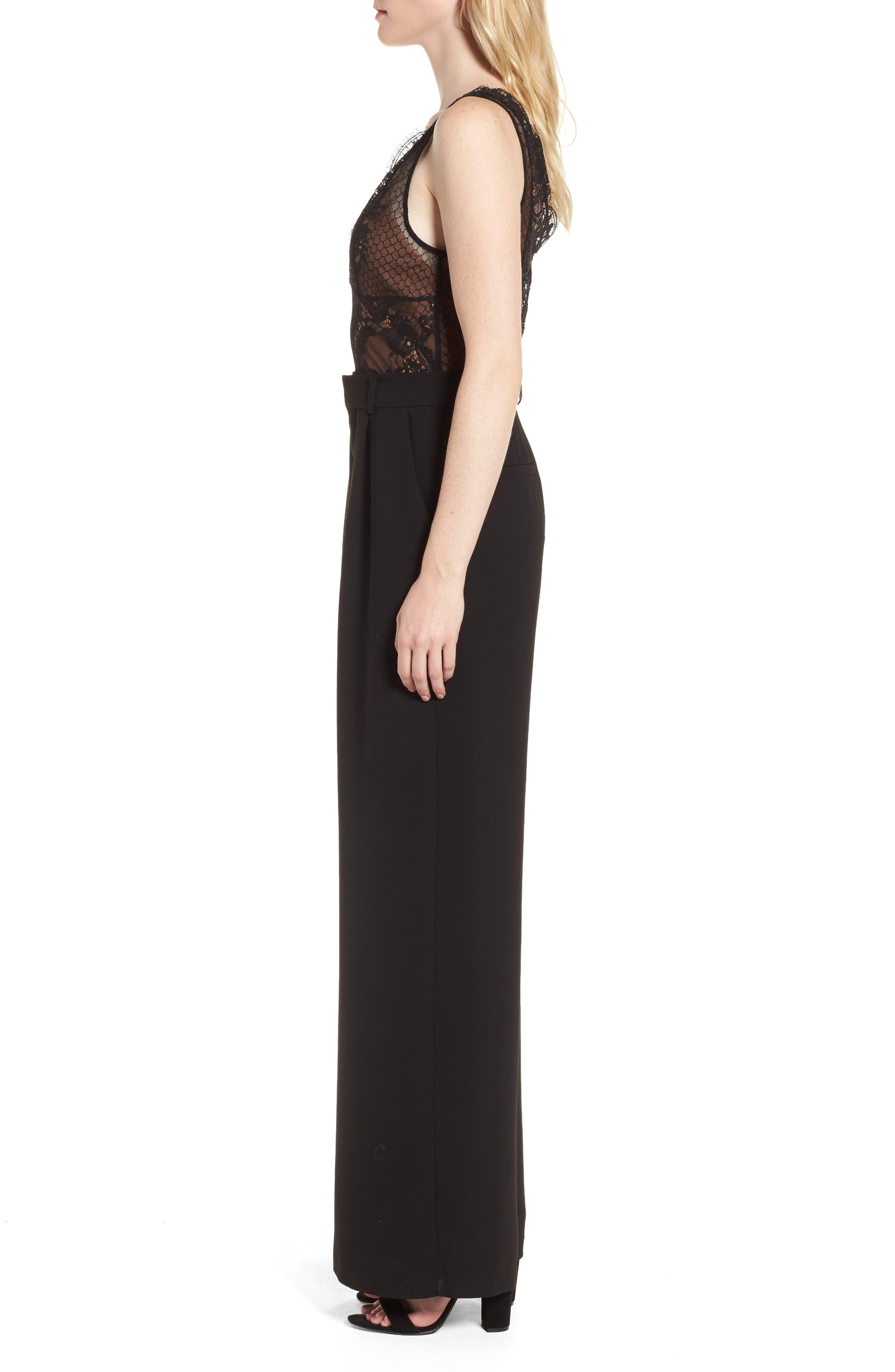 Lace Bodice Jumpsuit,                             Alternate thumbnail 3, color,                             Black/ Mocha