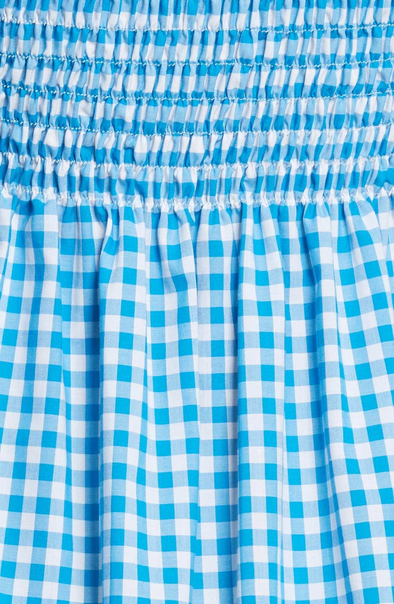 Appolonia Gingham Off the Shoulder Dress,                             Alternate thumbnail 5, color,                             Turquoise