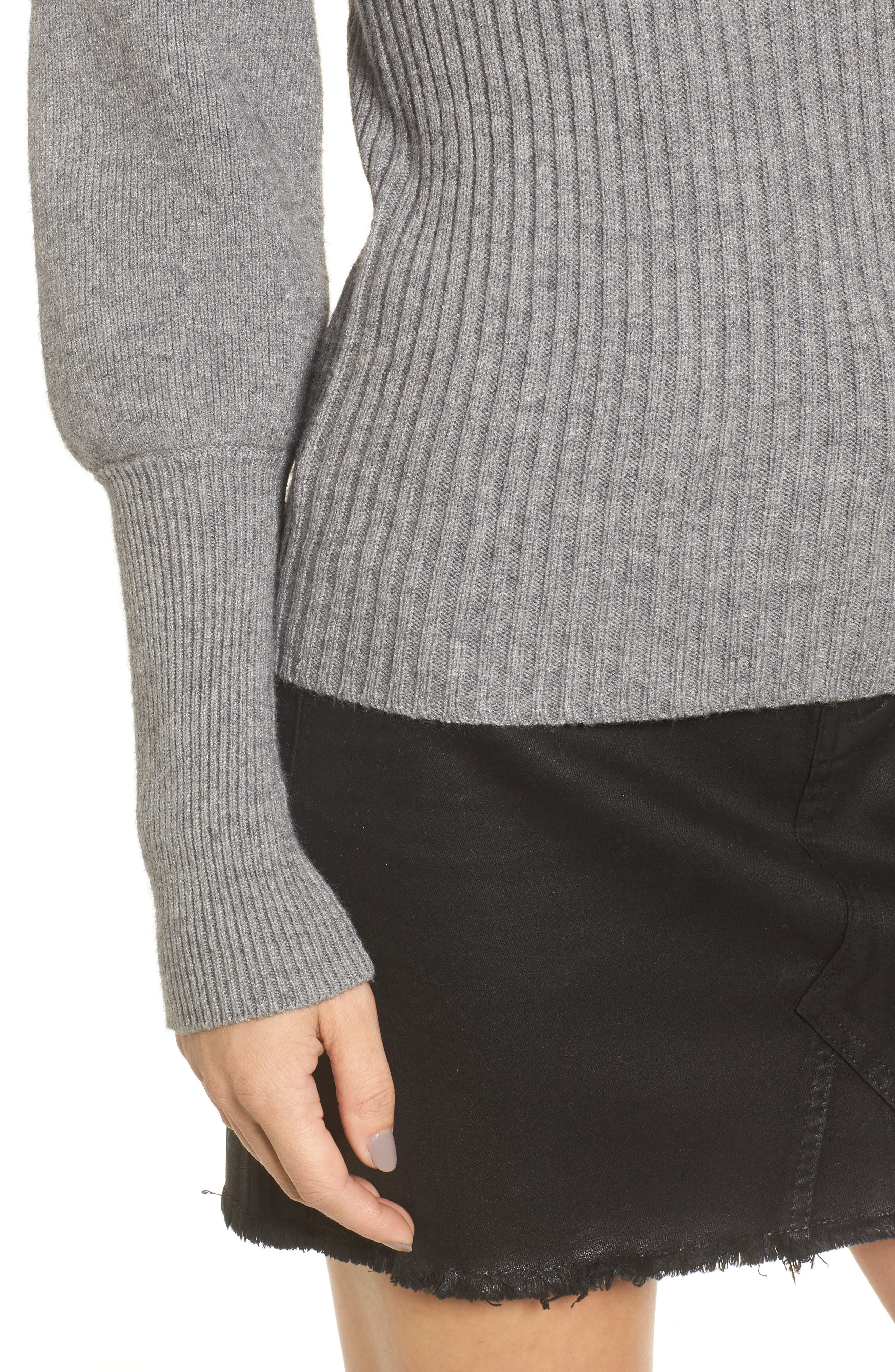 Puff Sleeve Sweater,                             Alternate thumbnail 4, color,                             Grey