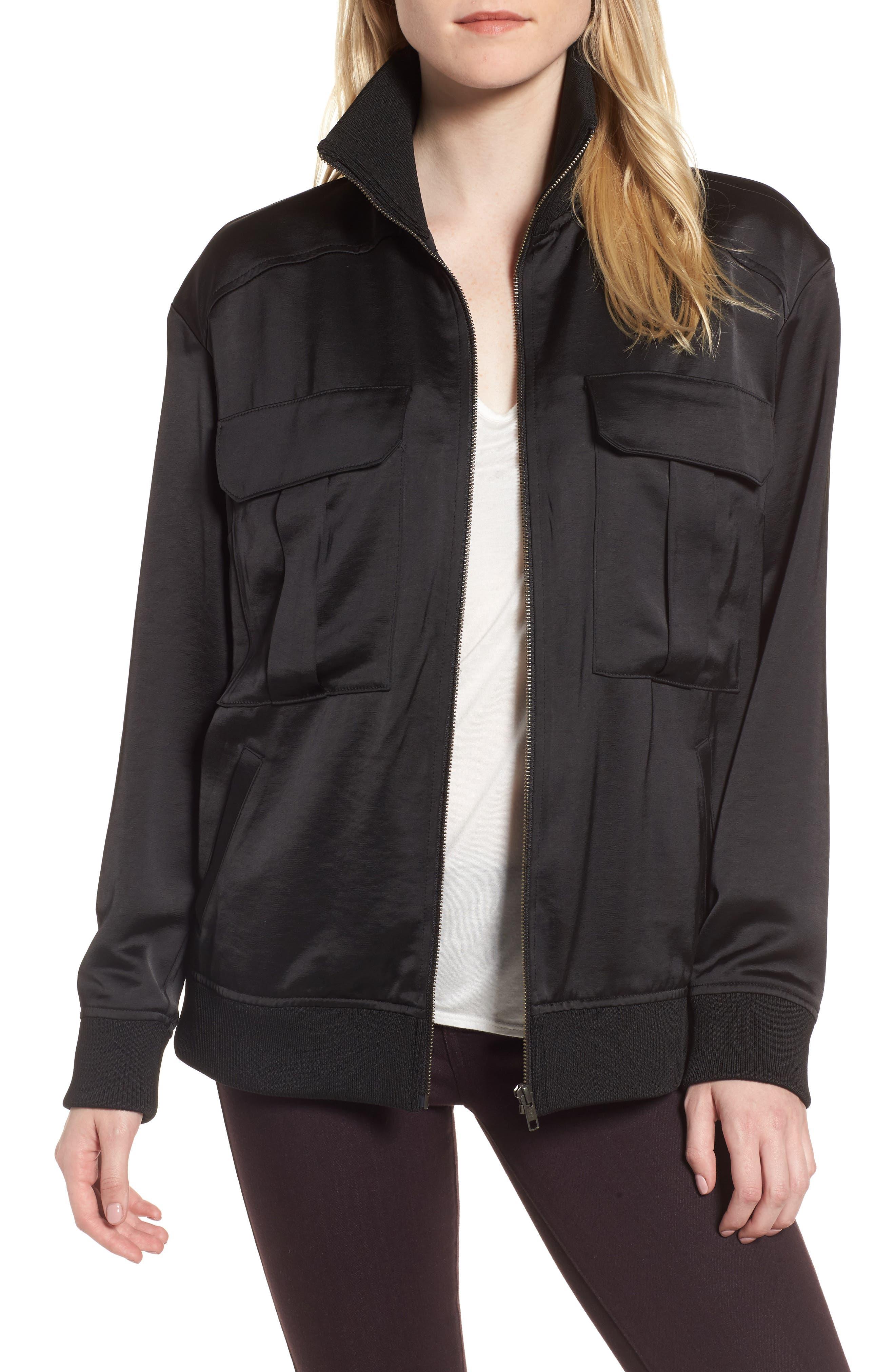 Satin Track Jacket,                         Main,                         color, Black