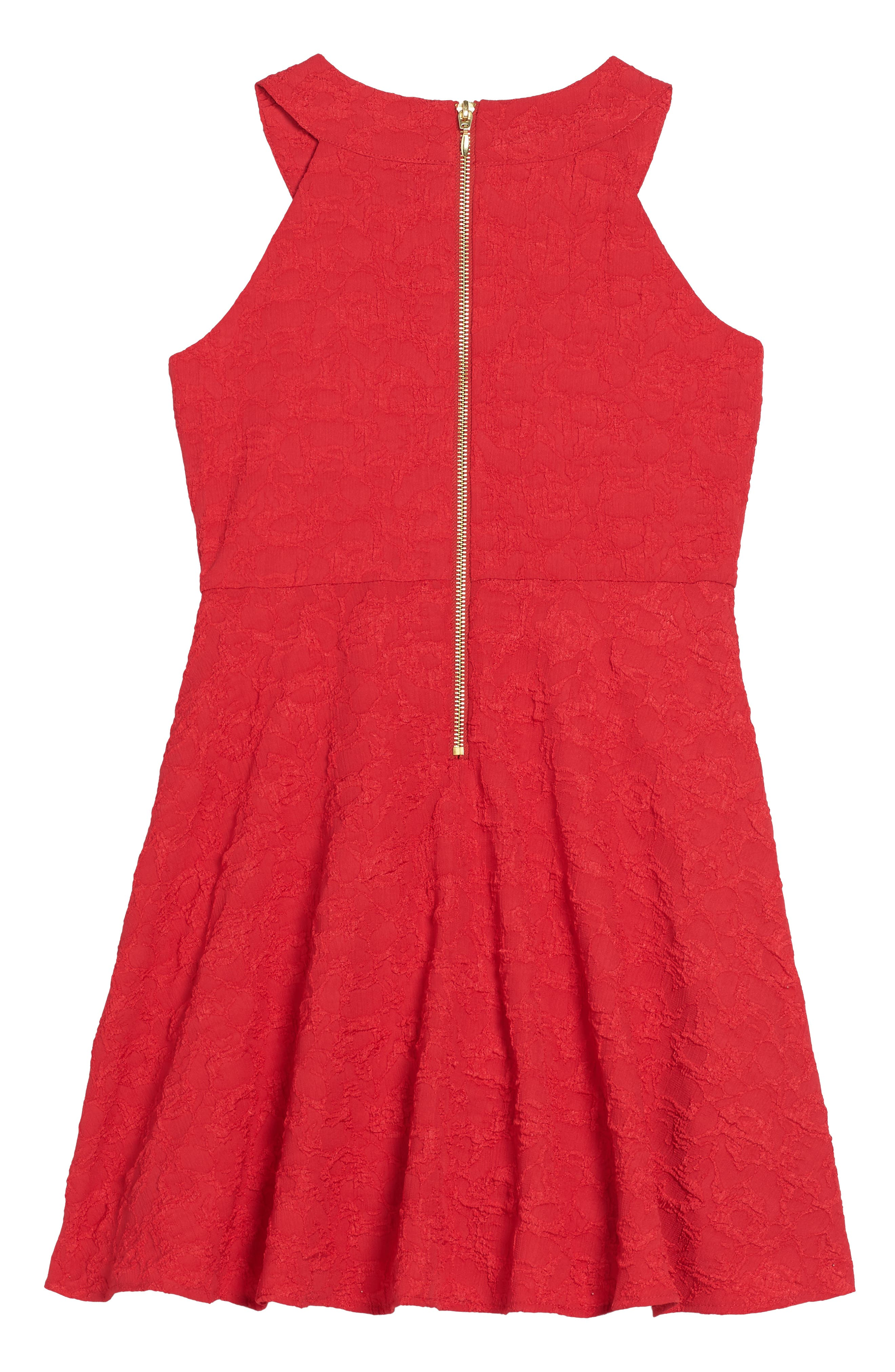 Jewel Neck Fit & Flare Dress,                             Alternate thumbnail 2, color,                             Ruby