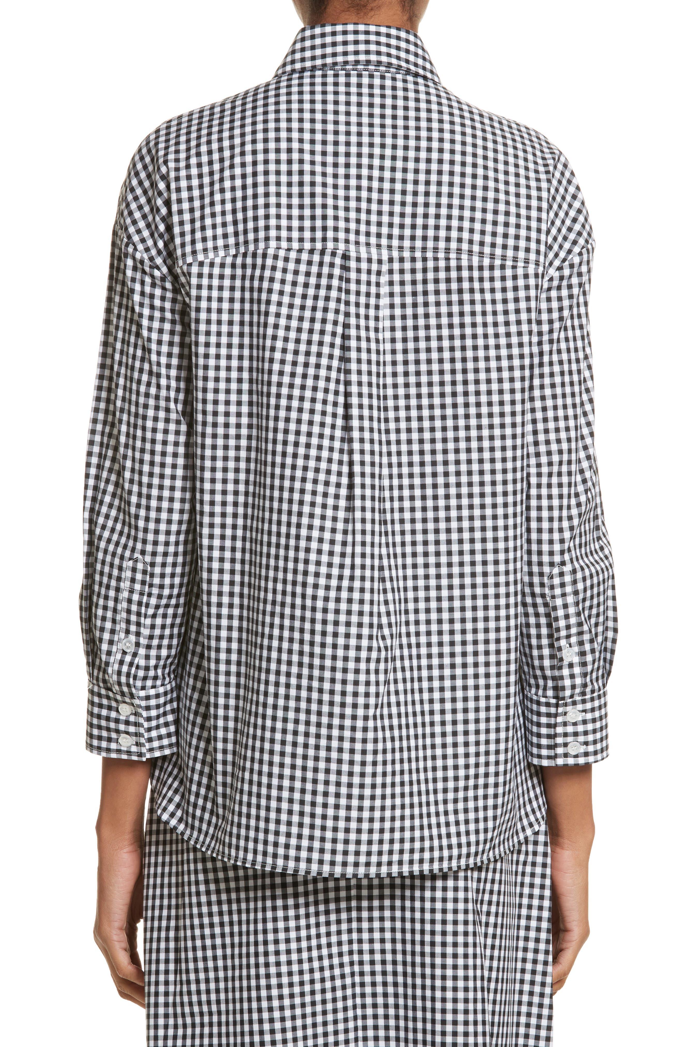 Beaded Smock Front Shirt,                             Alternate thumbnail 2, color,                             Black White Black