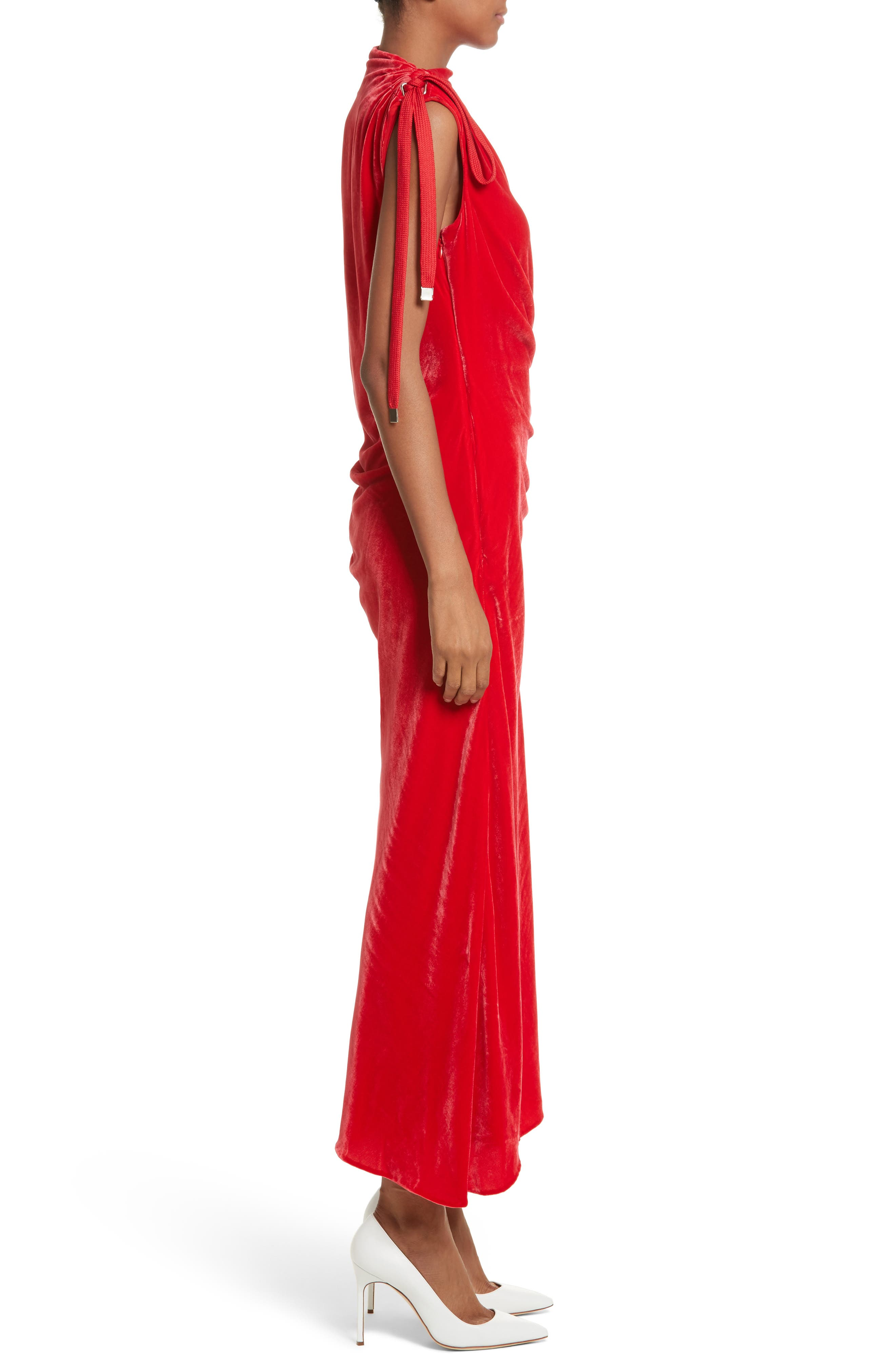 Drawstring Velvet Dress,                             Alternate thumbnail 3, color,                             Red