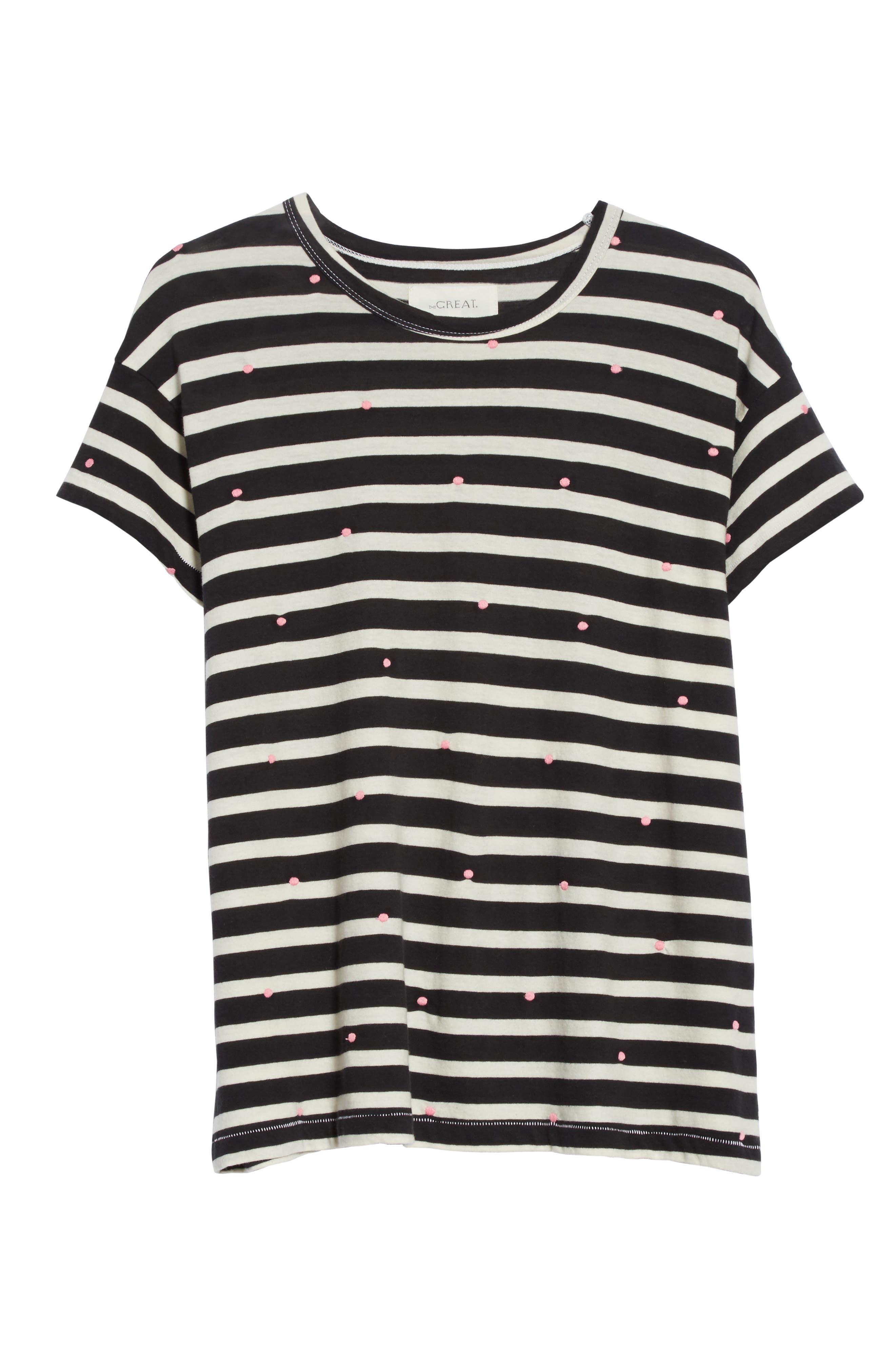 The Boxy Crew Embroidered Dot Tee,                             Alternate thumbnail 7, color,                             Black/ Cream Stripe