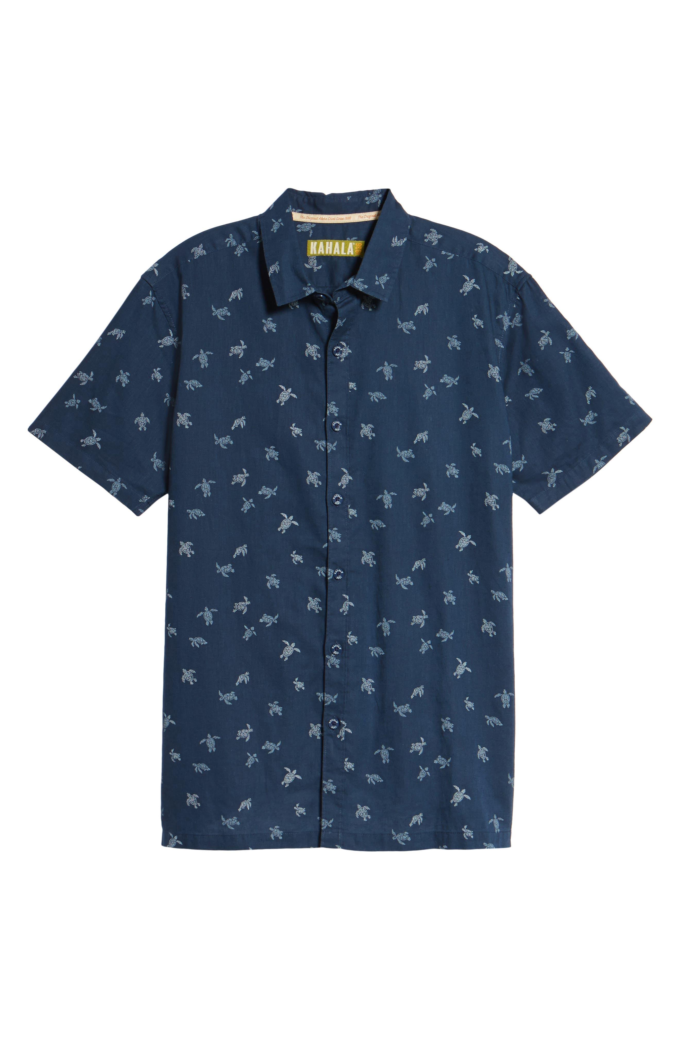Honu La Hanai Trim Fit Print Sport Shirt,                             Alternate thumbnail 6, color,                             Navy