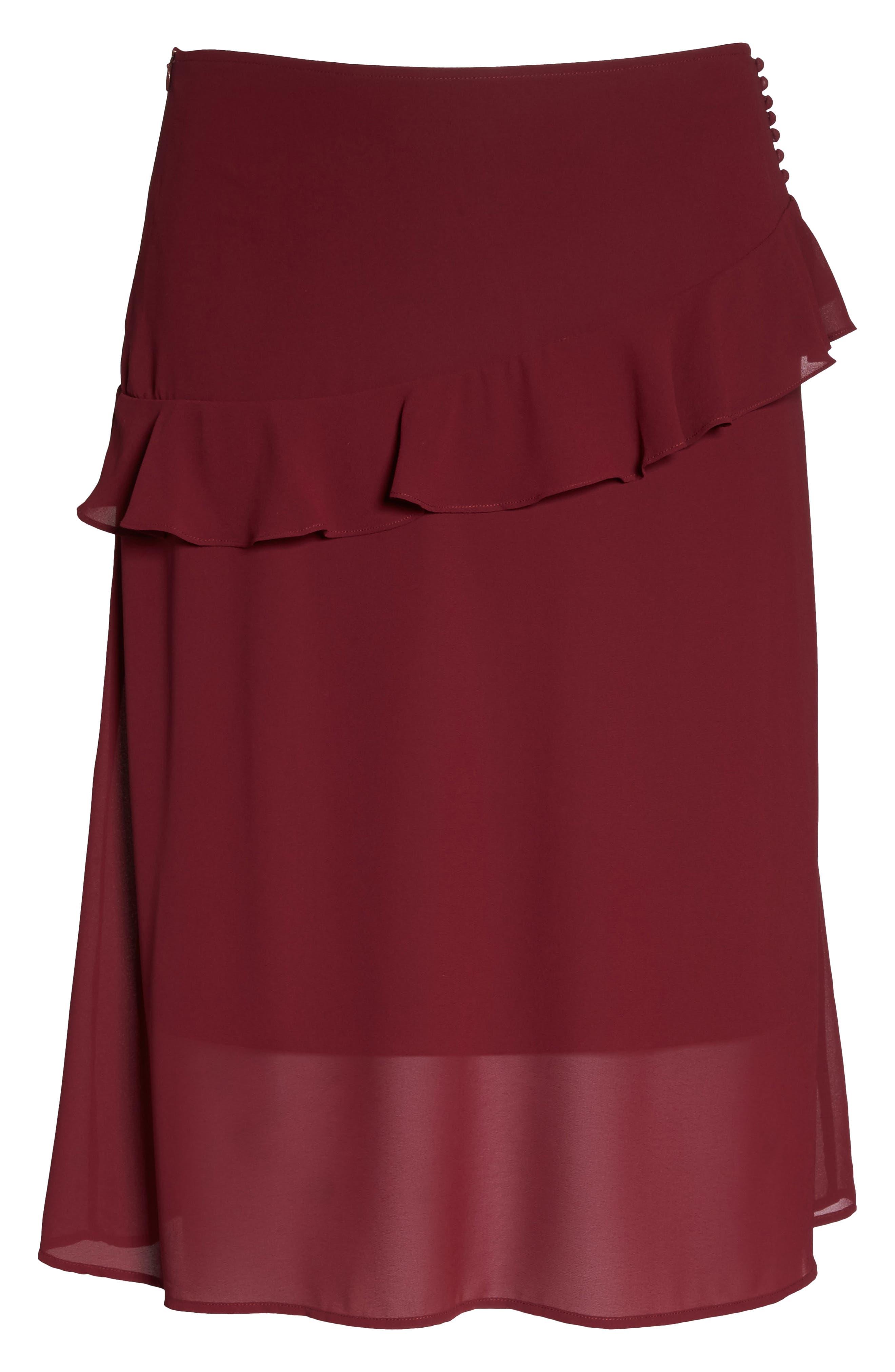 Ruffled Georgette Skirt,                             Alternate thumbnail 6, color,                             Burgundy