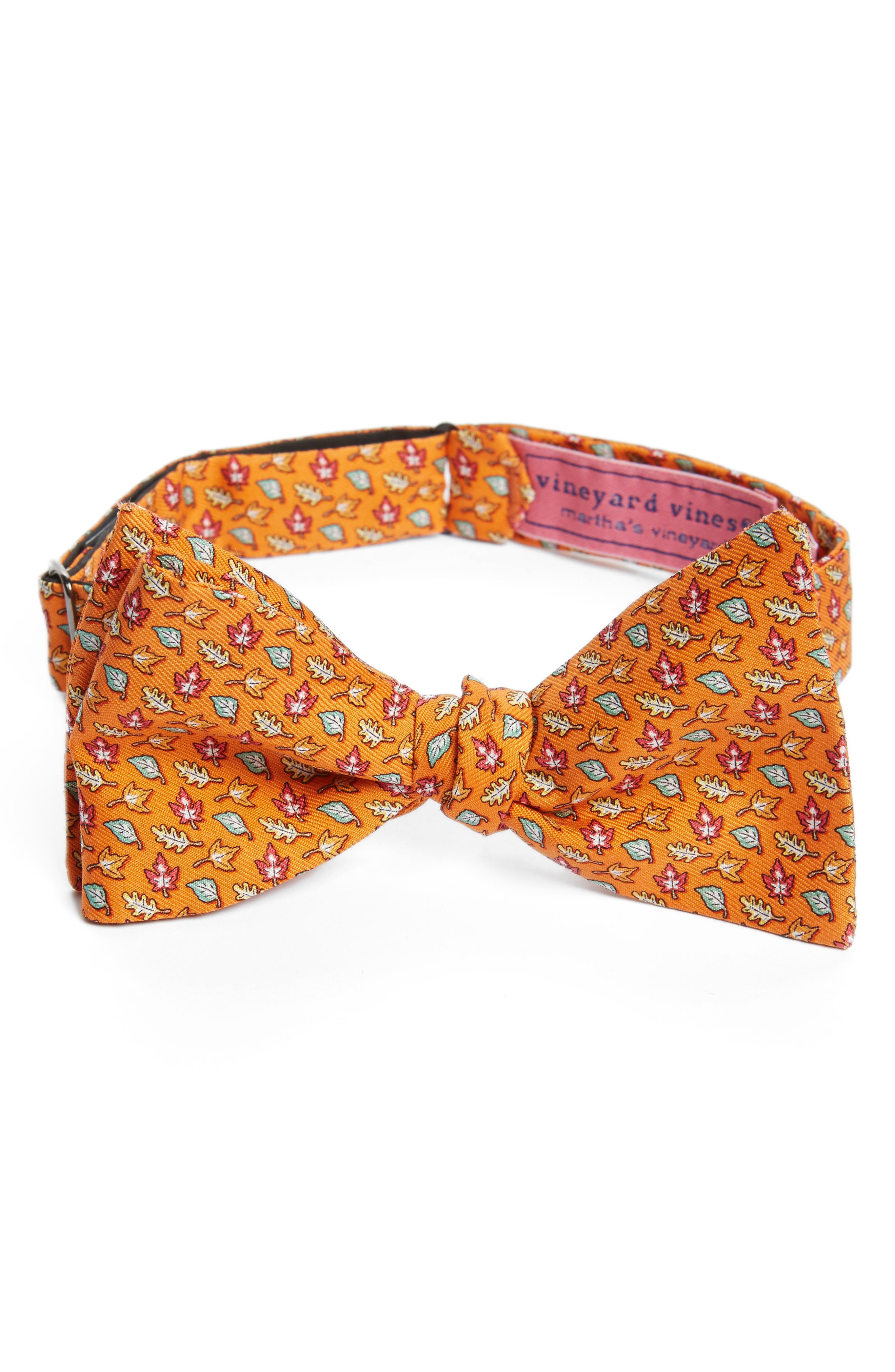Fall Leaves Silk Bow Tie,                             Main thumbnail 1, color,                             Orange