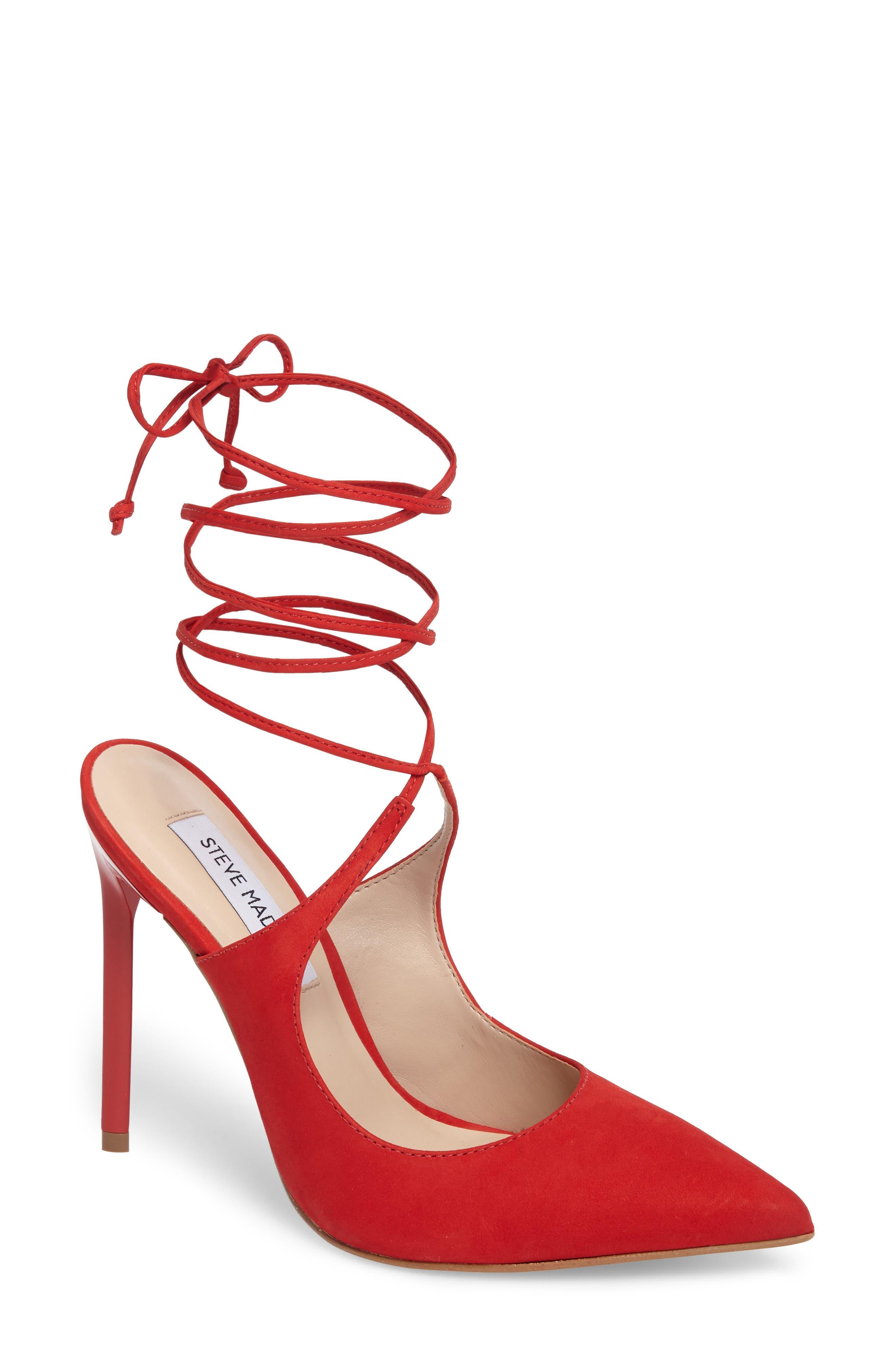 Raven Ankle Wrap Pump,                             Main thumbnail 1, color,                             Red Nubuck Leather