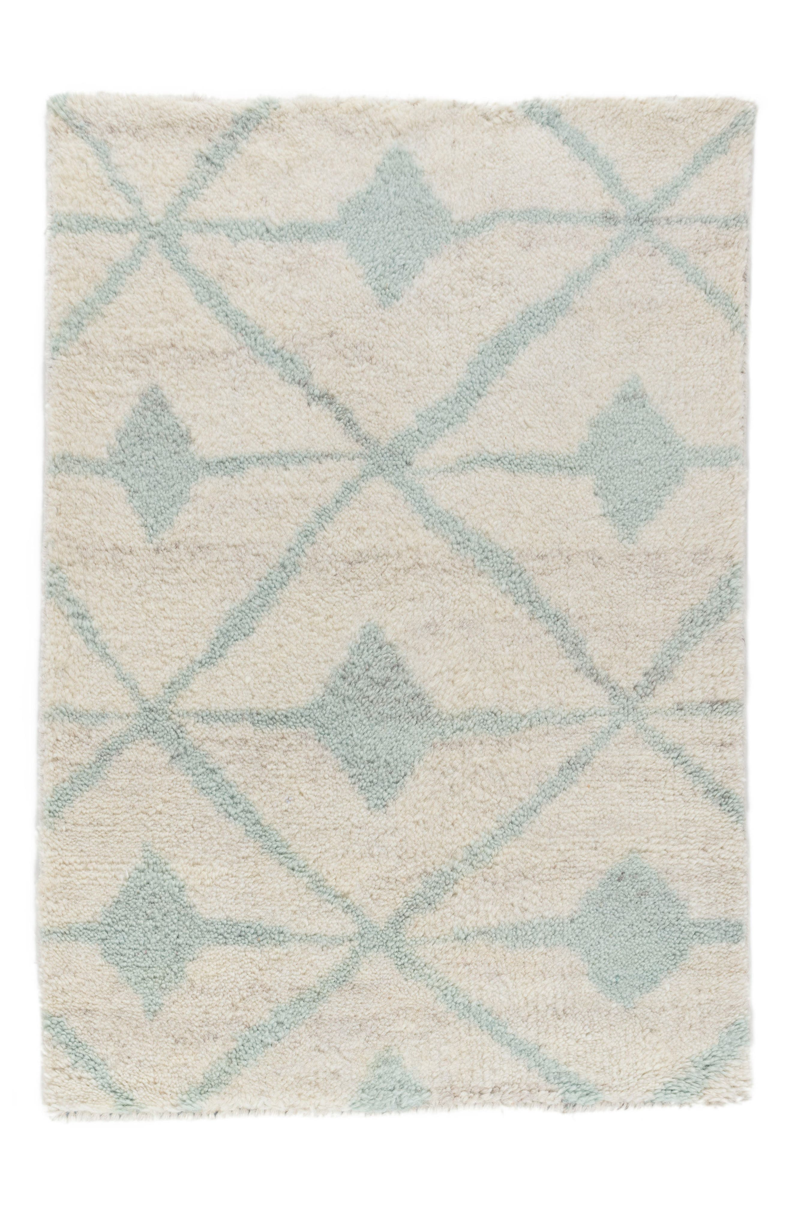 Kenitra Hand Knotted Rug,                             Main thumbnail 1, color,                             Robins Egg Blue
