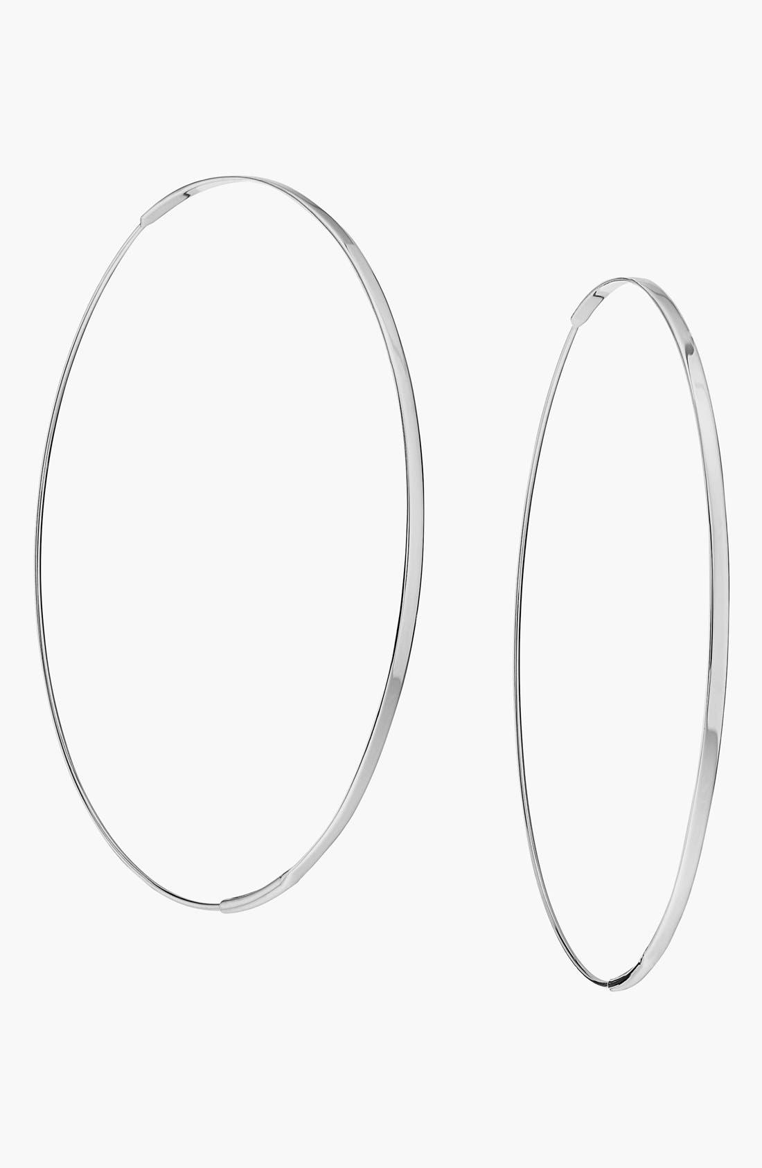'Large Flat Magic' Hoop Earrings,                         Main,                         color, White Gold