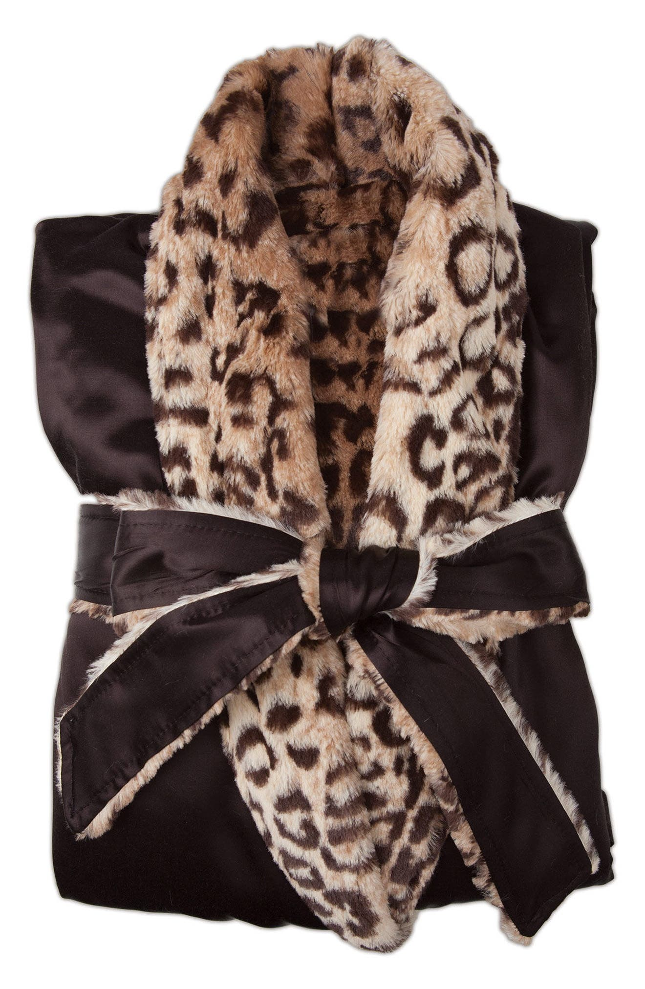 Faux Fur & Satin Robe,                         Main,                         color, Espresso