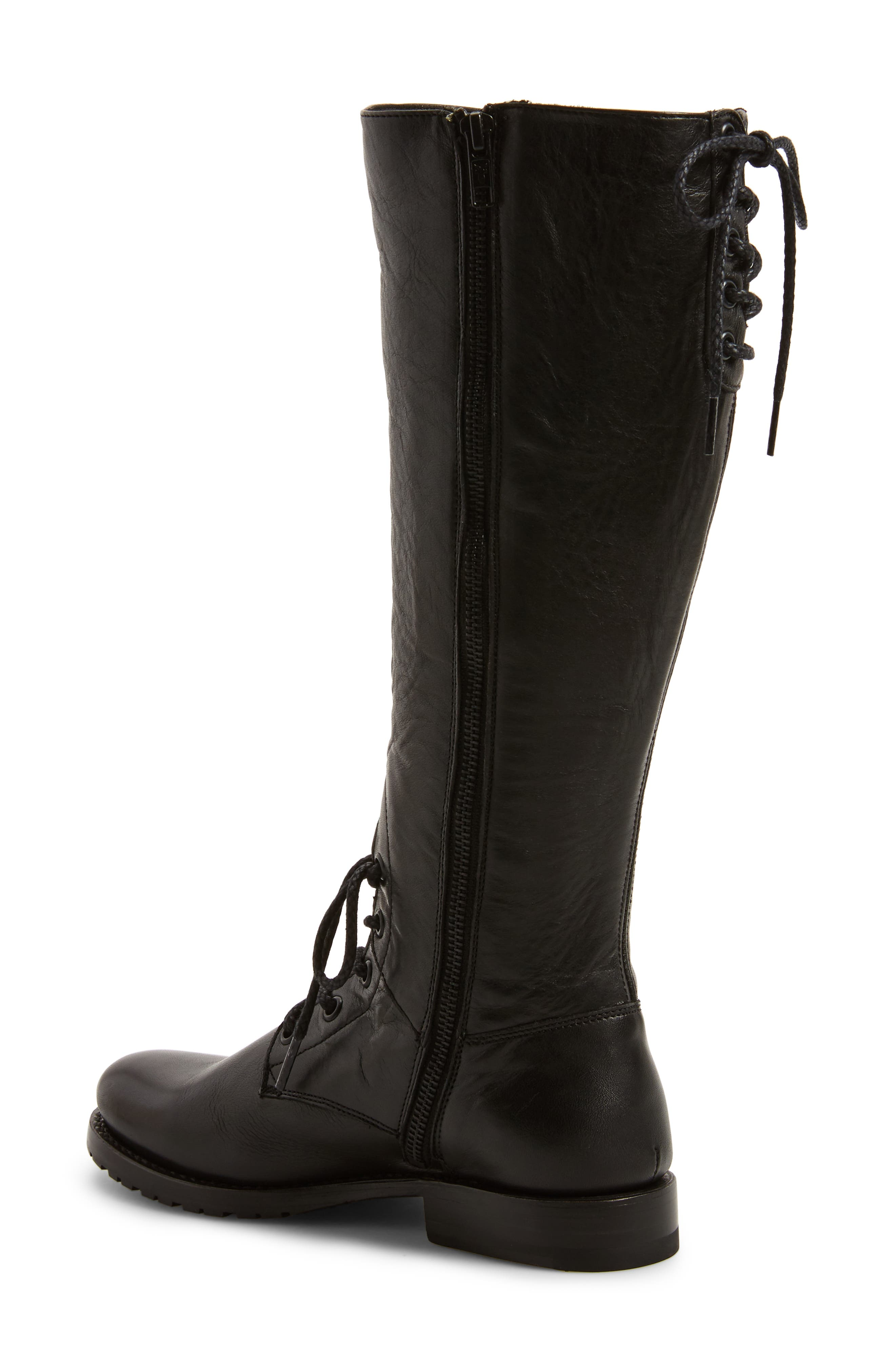 Natalie Knee High Combat Boot,                             Alternate thumbnail 2, color,                             Black