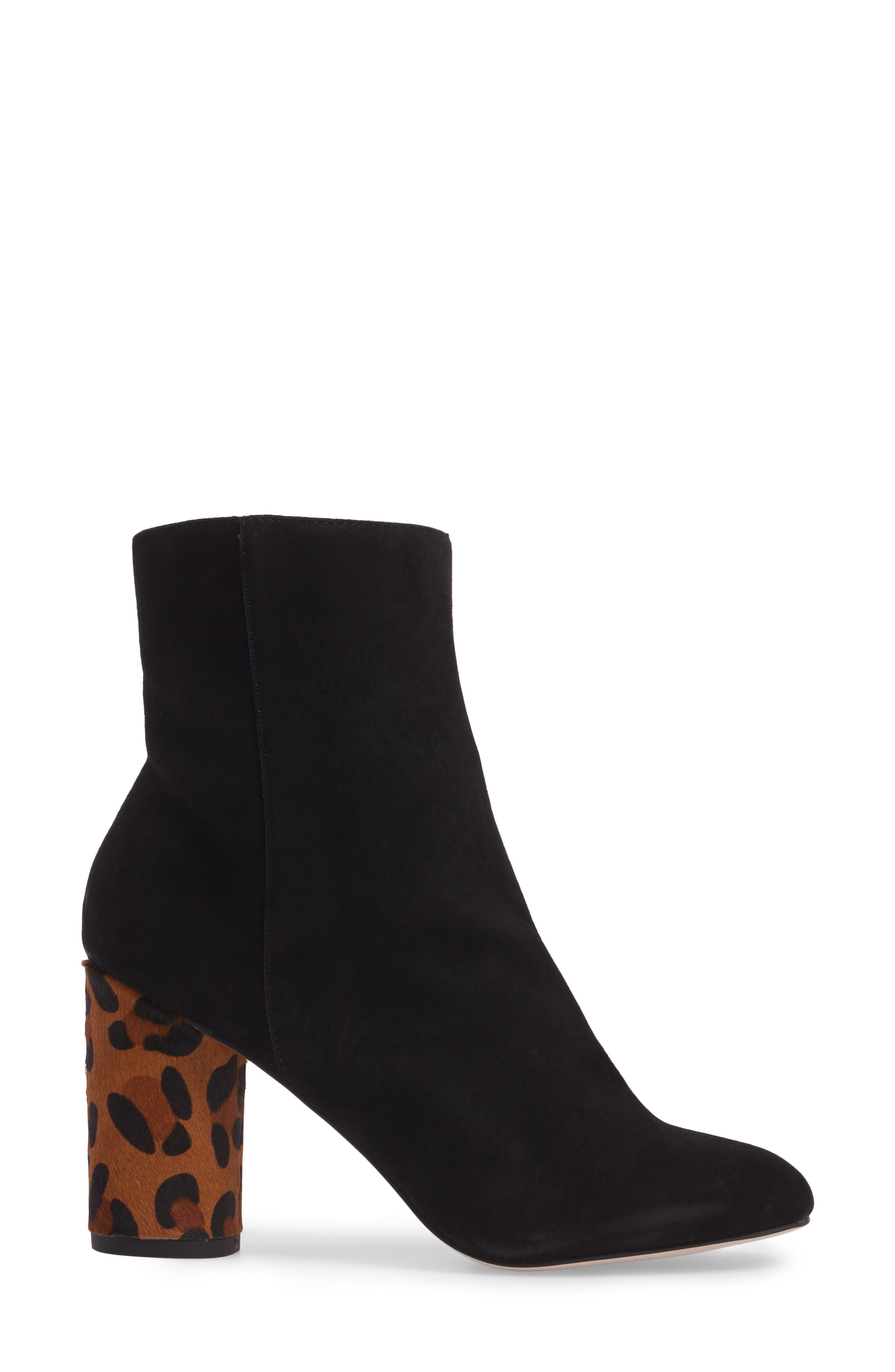 Mulholland Embroidered Boot,                             Alternate thumbnail 3, color,                             Black With Leopard Heel