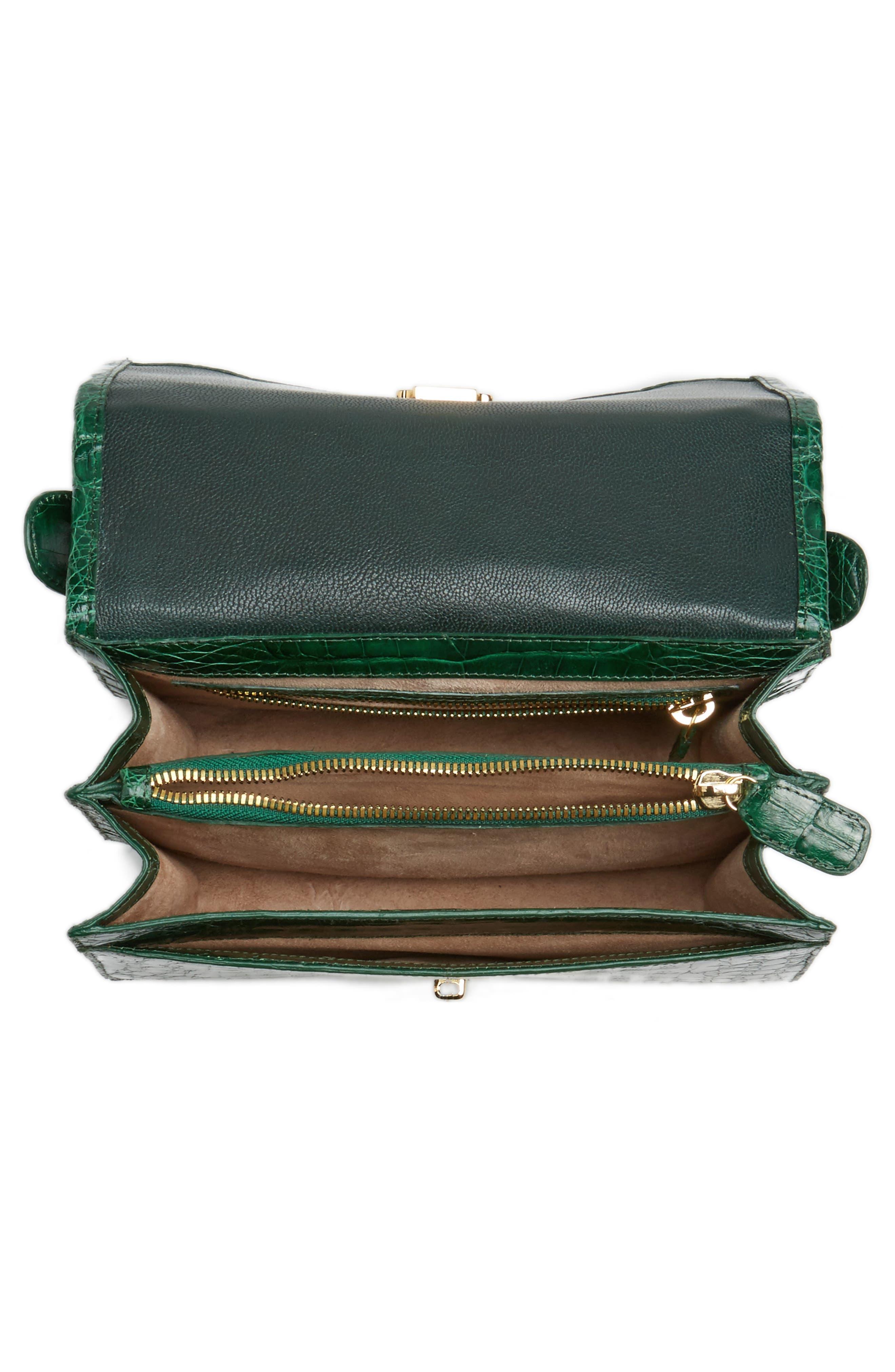 Divino Genuine Crocodile Top Handle Bag,                             Alternate thumbnail 4, color,                             Kelly Green Shiny