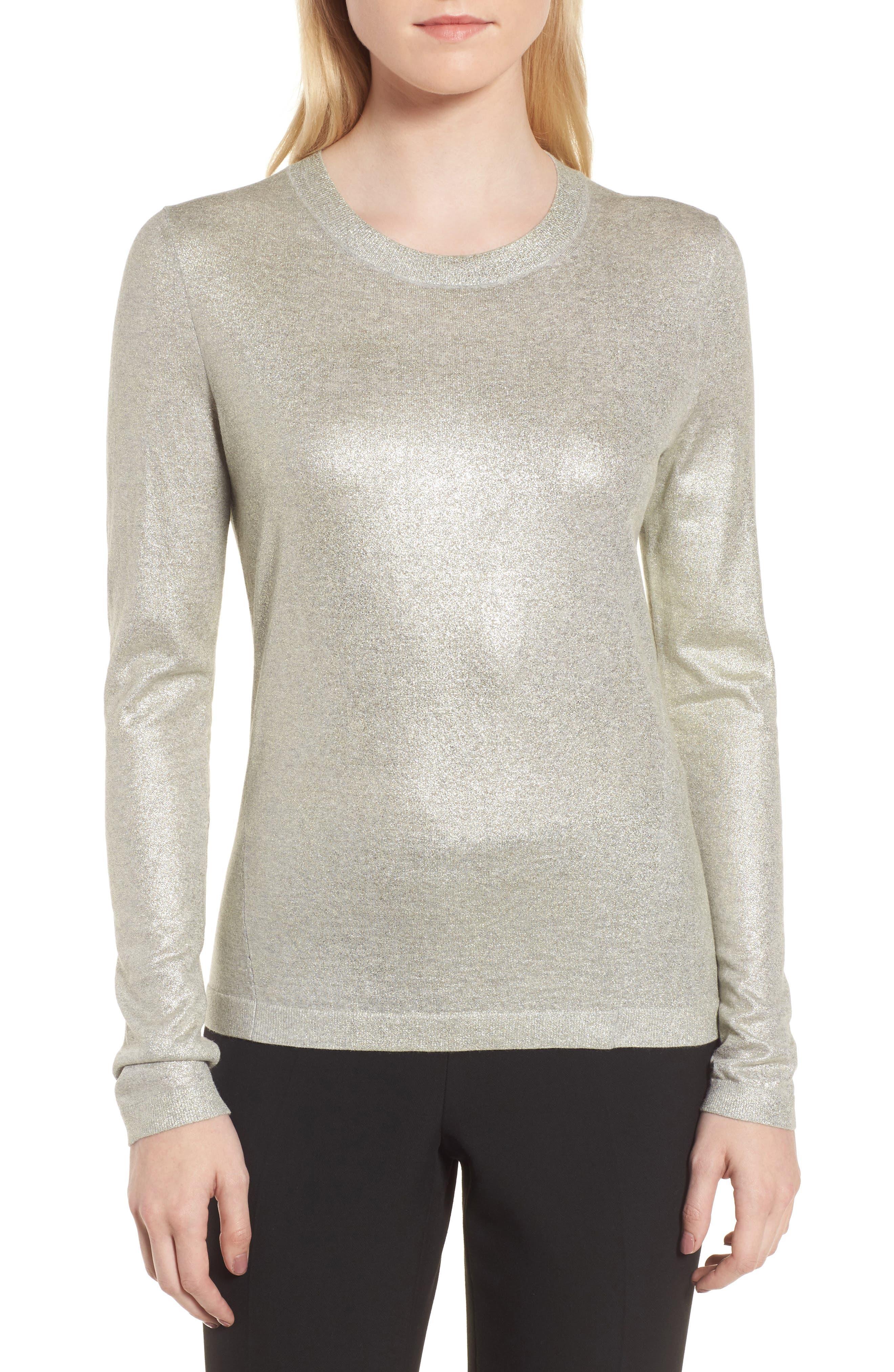 Fadine Wool Crewneck Sweater,                             Main thumbnail 1, color,                             Cozy Grey Melange