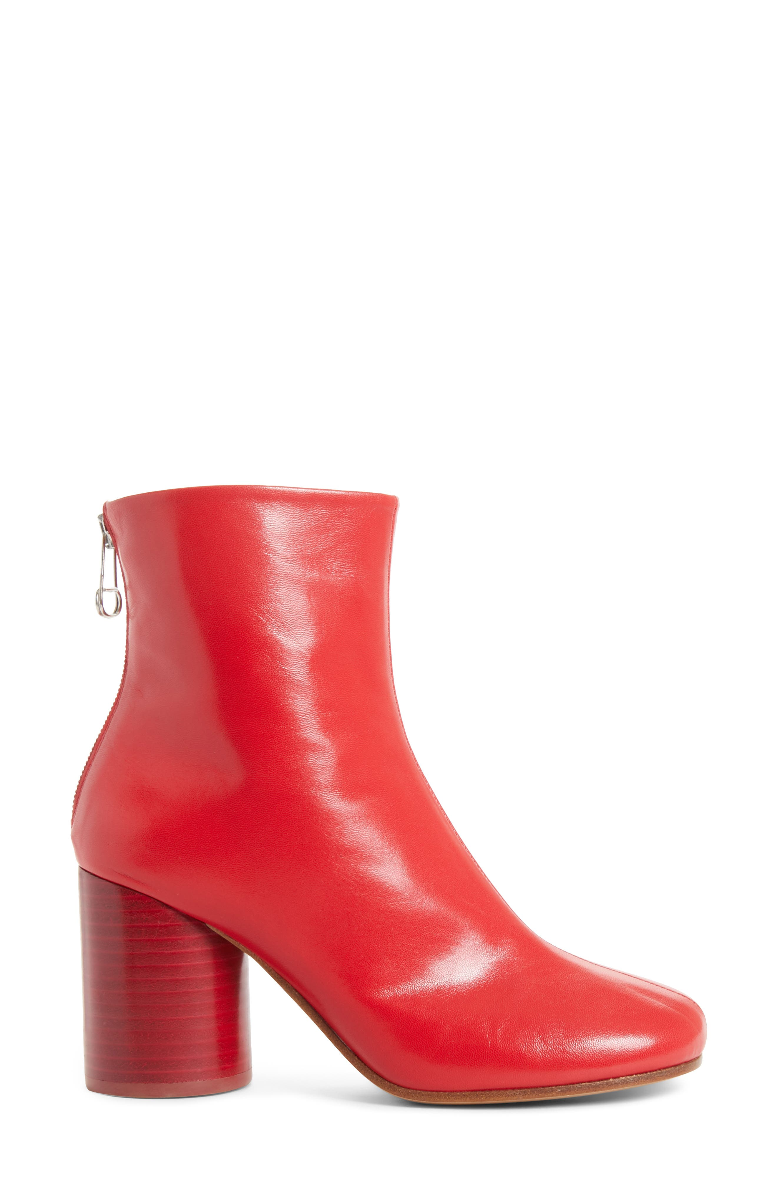 Round Heel Ankle Boot,                             Alternate thumbnail 3, color,                             Red