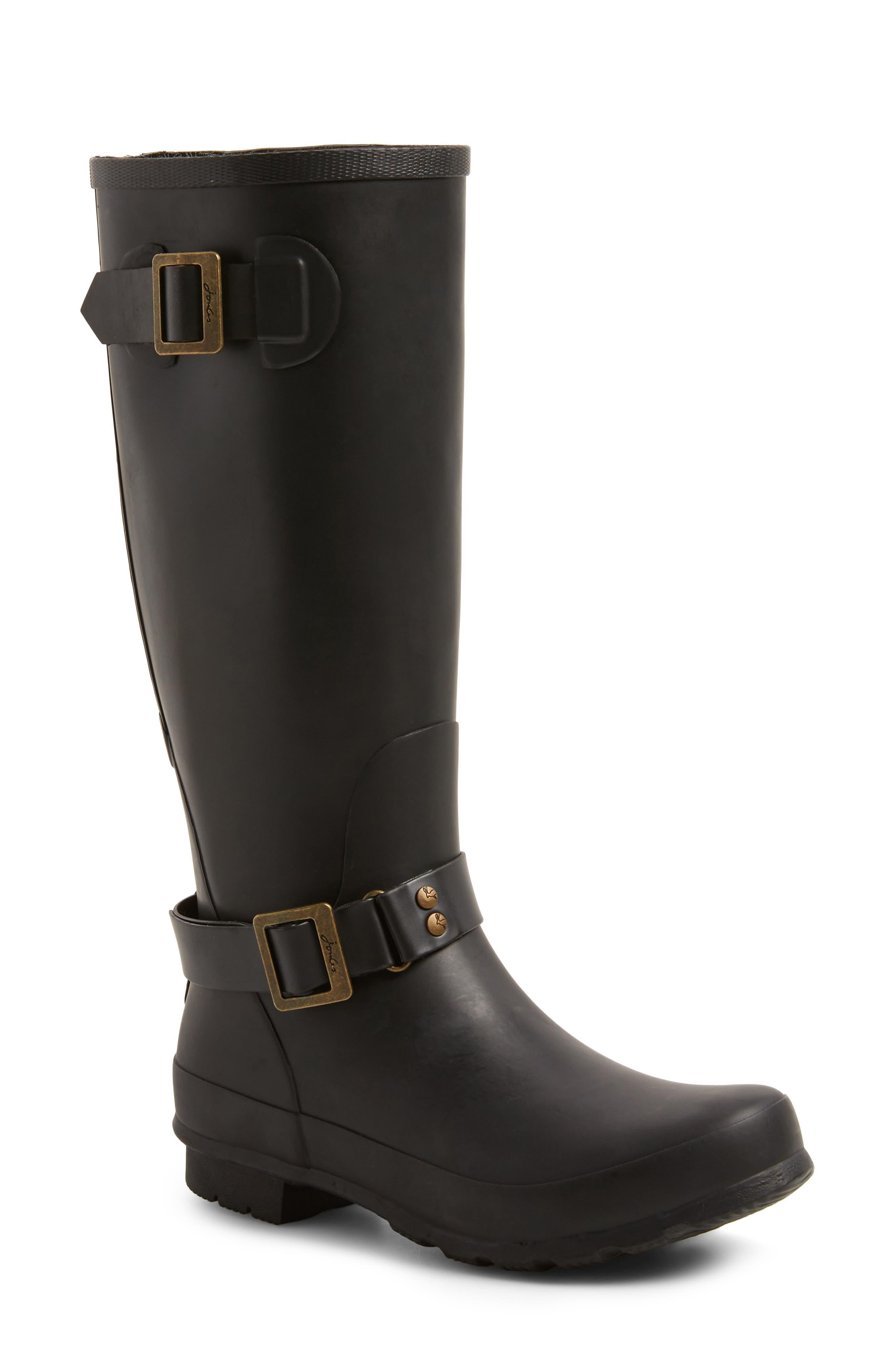Biker Knee High Rain Boot,                         Main,                         color, Black