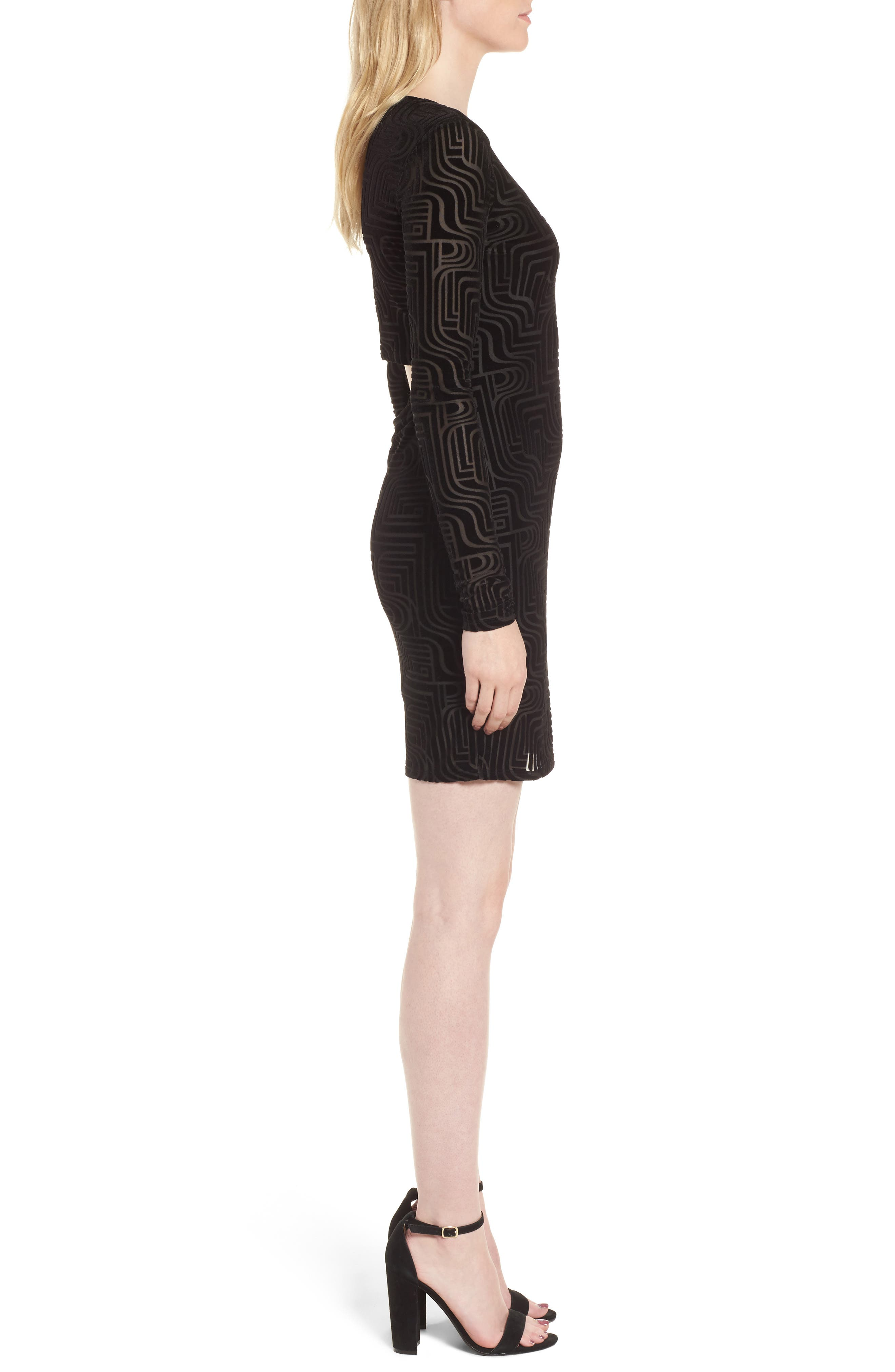 Burnout Velvet Sheath Dress,                             Alternate thumbnail 3, color,                             Black