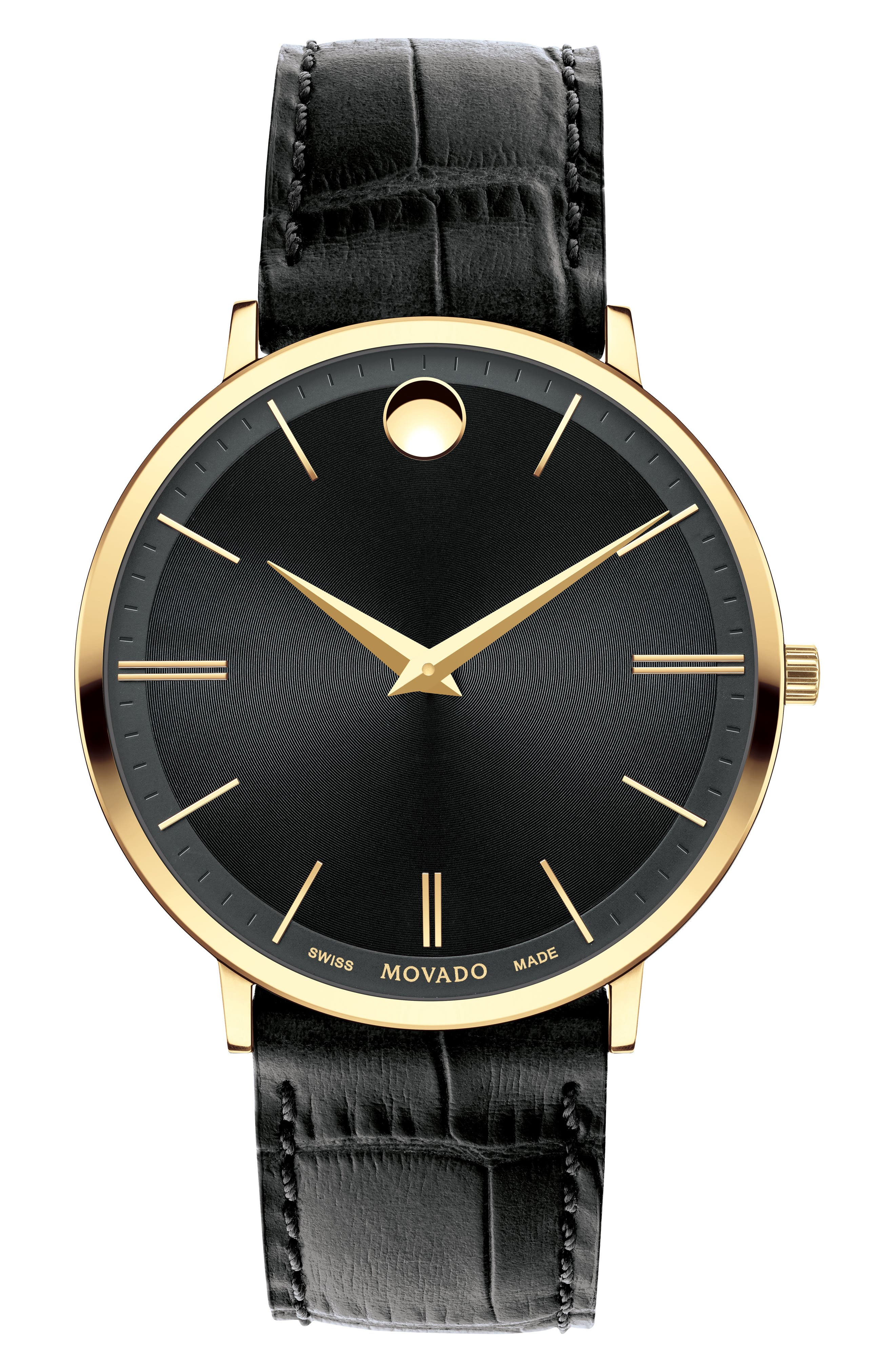 Ultra Slim Leather Strap Watch, 40mm,                         Main,                         color, Black/ Gold