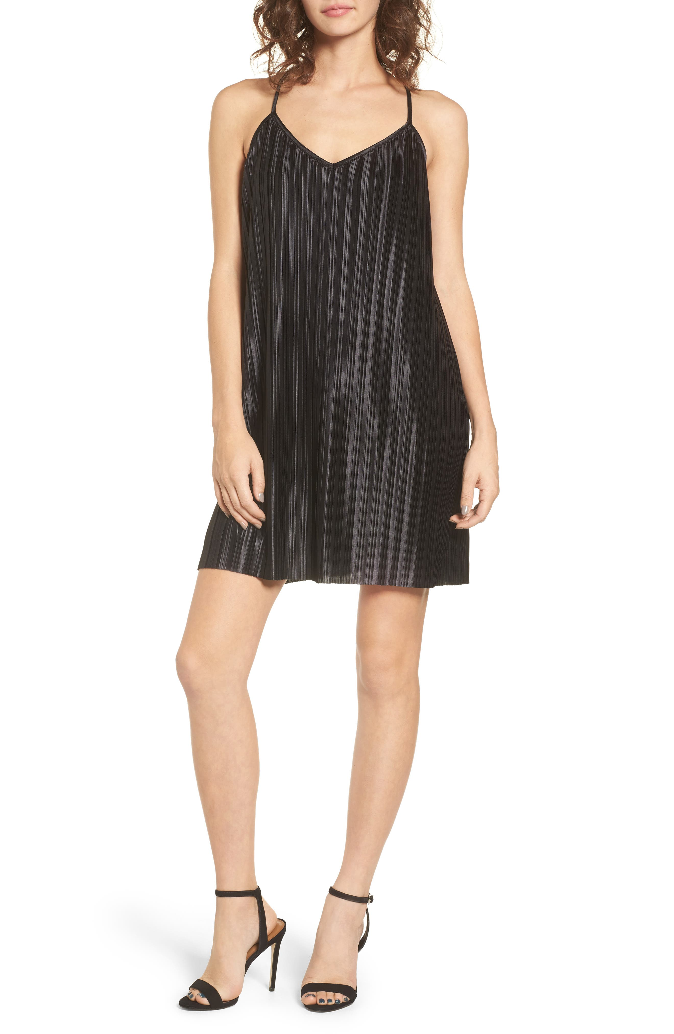 Just Pleat It Slipdress,                         Main,                         color, Black