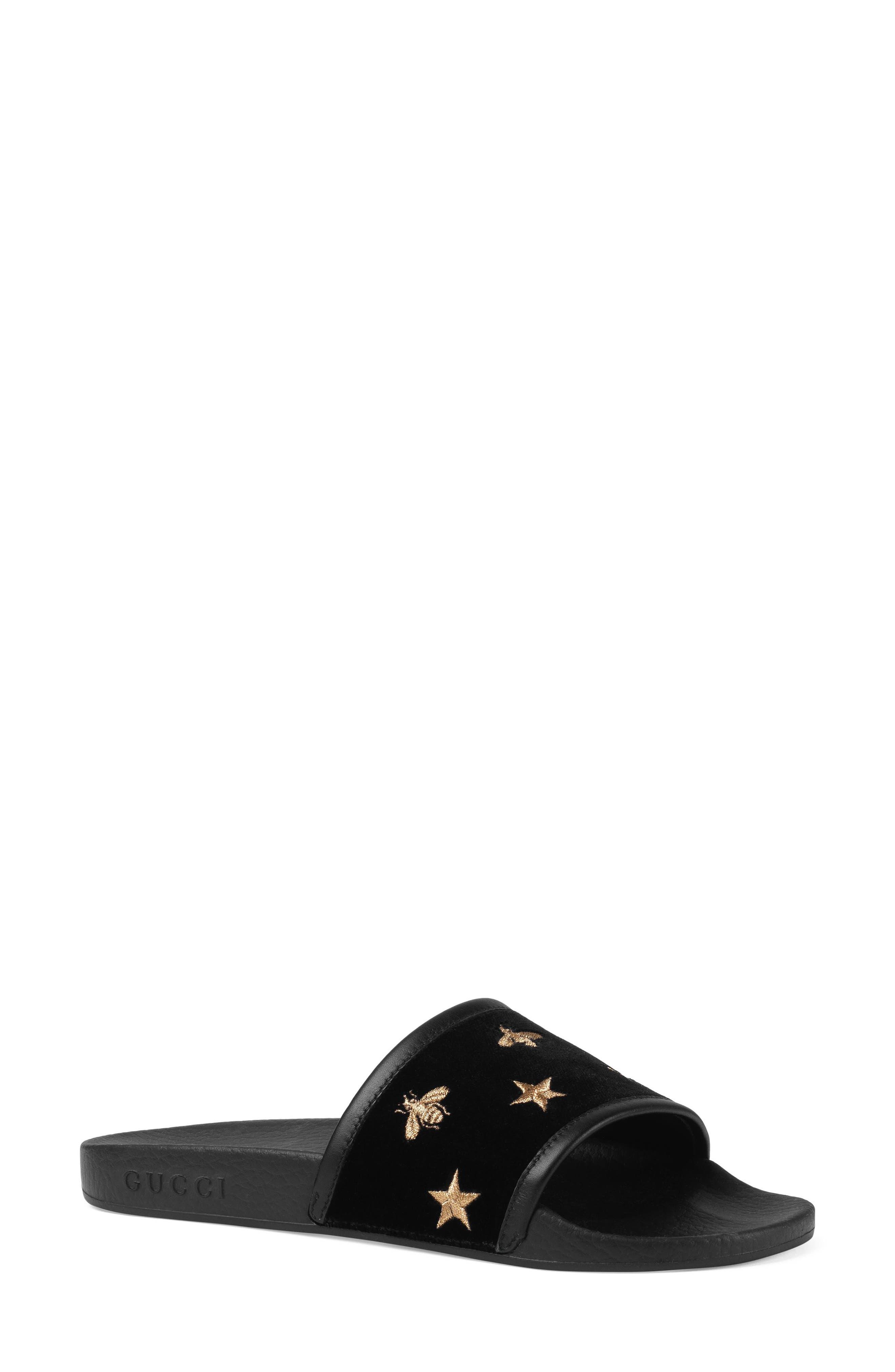 Pursuit Embroidered Slide Sandal,                             Main thumbnail 1, color,                             Black