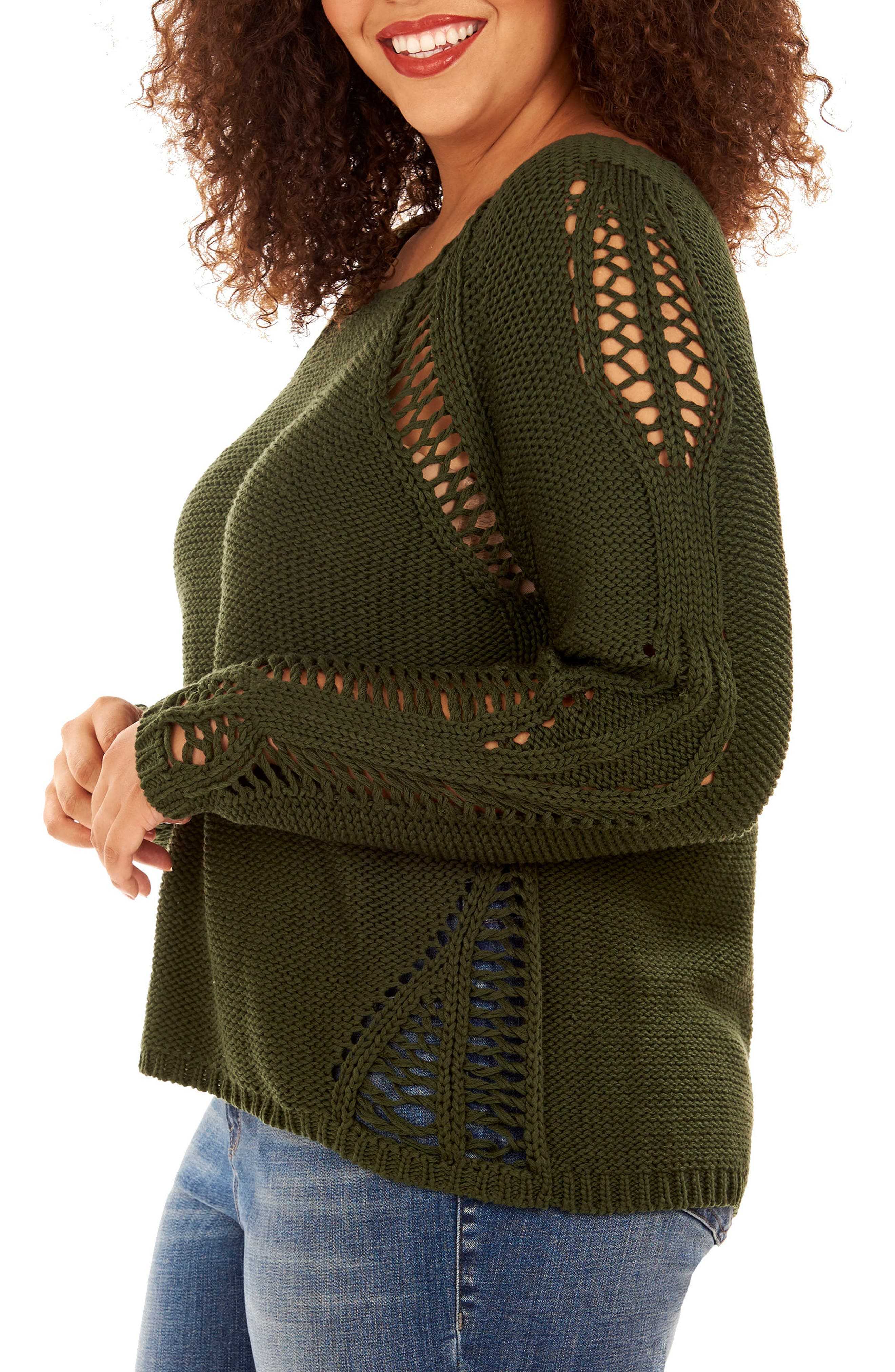 Open Stitch Sweater,                             Alternate thumbnail 3, color,                             Mountain View