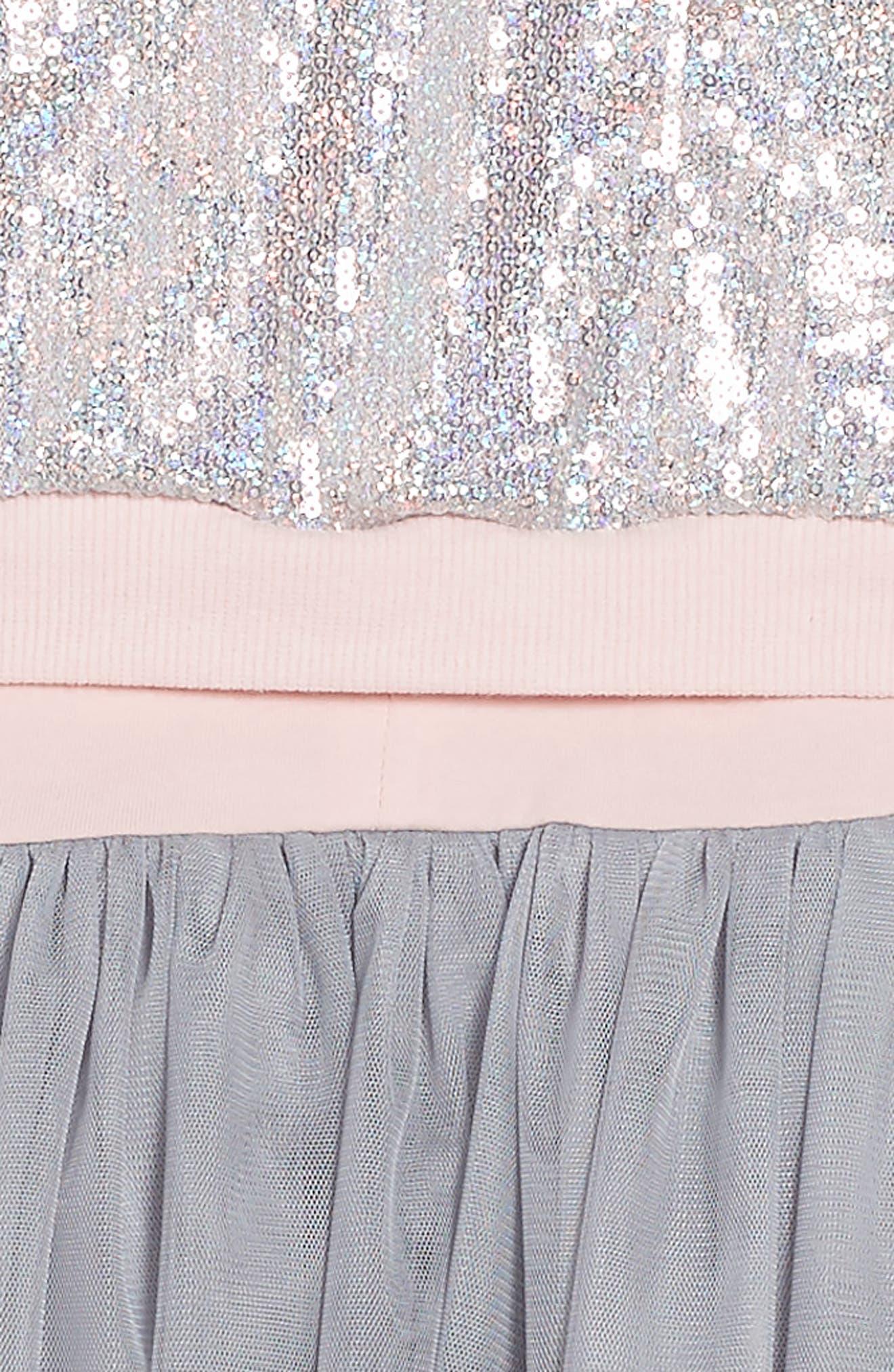 Tank Dress & Sequin Bomber Jacket Set,                             Alternate thumbnail 4, color,                             Silver/ Pink
