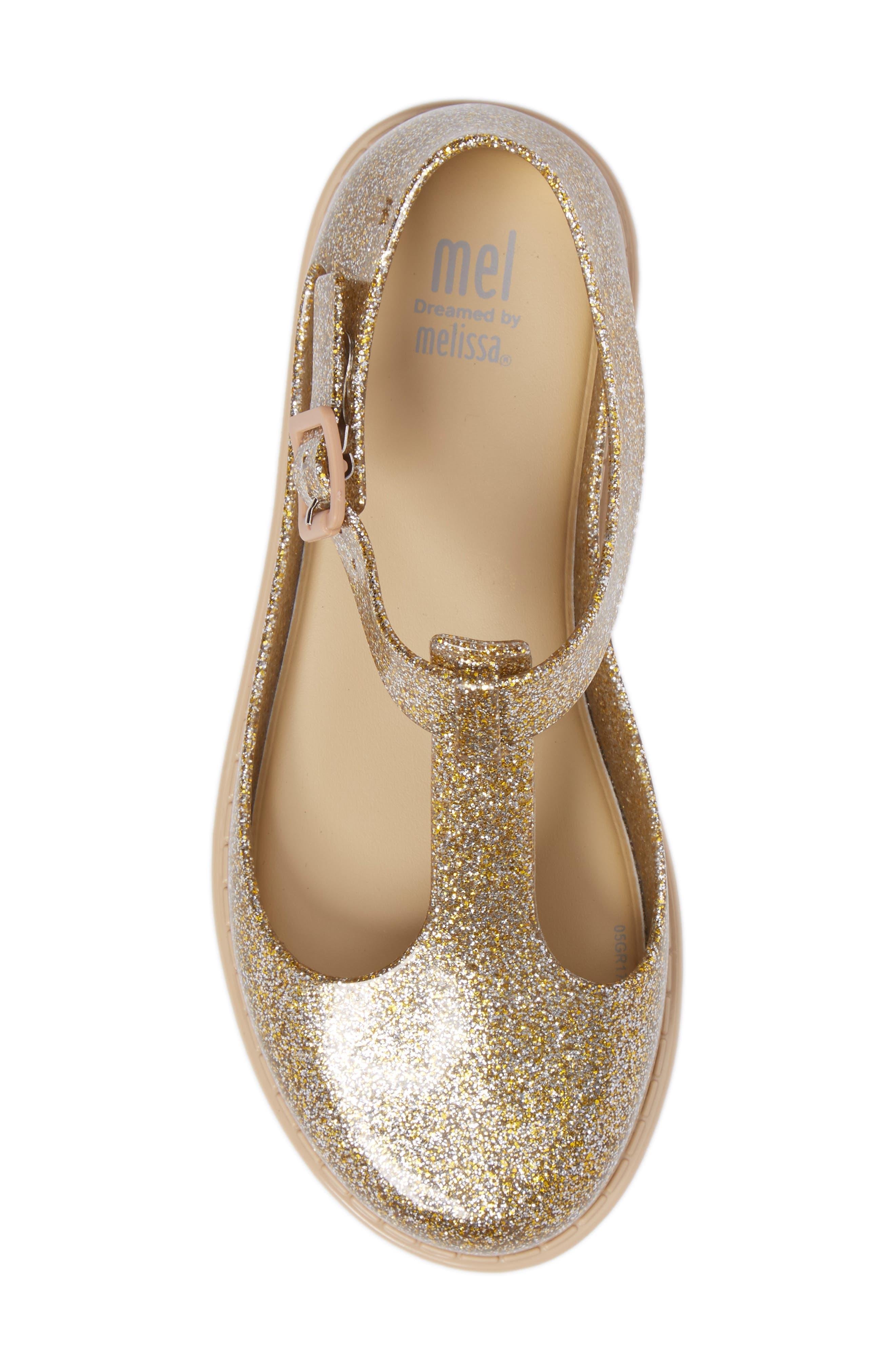 Kazakova T-Strap Flat,                             Alternate thumbnail 5, color,                             Gold Glass Glitter