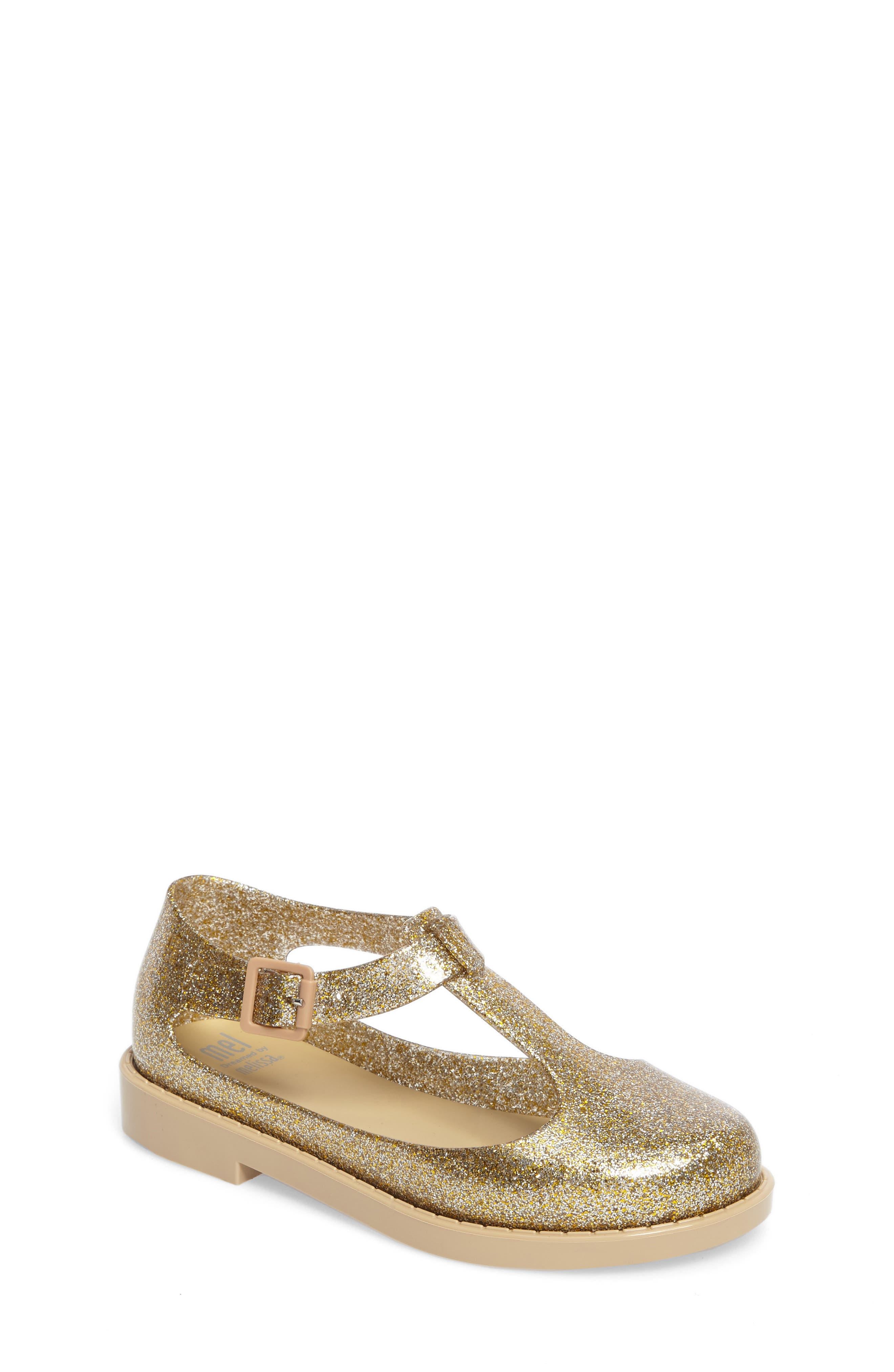 Kazakova T-Strap Flat,                         Main,                         color, Gold Glass Glitter