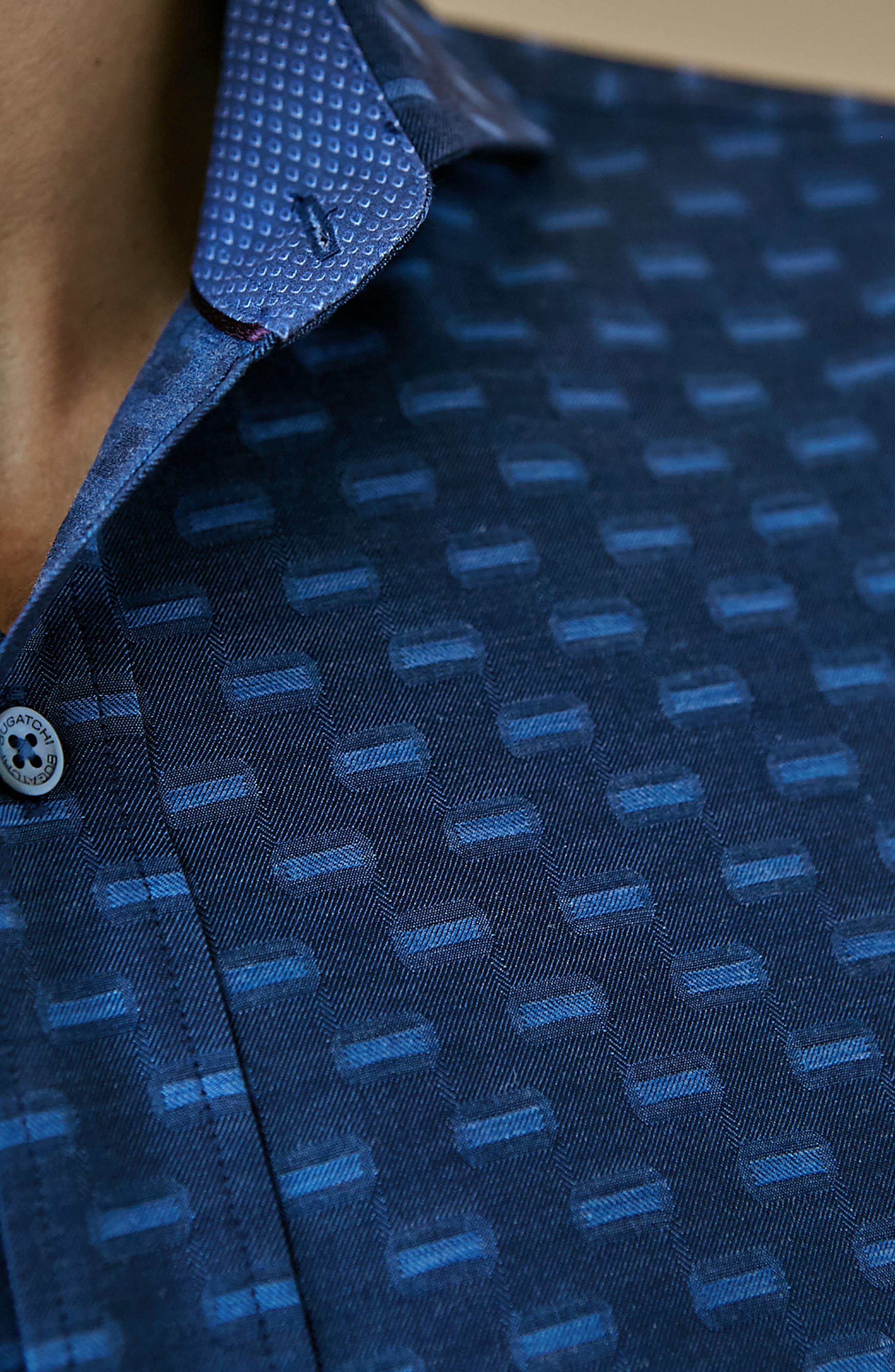 Alternate Image 7  - Bugatchi Classic Fit Jacquard Sport Shirt