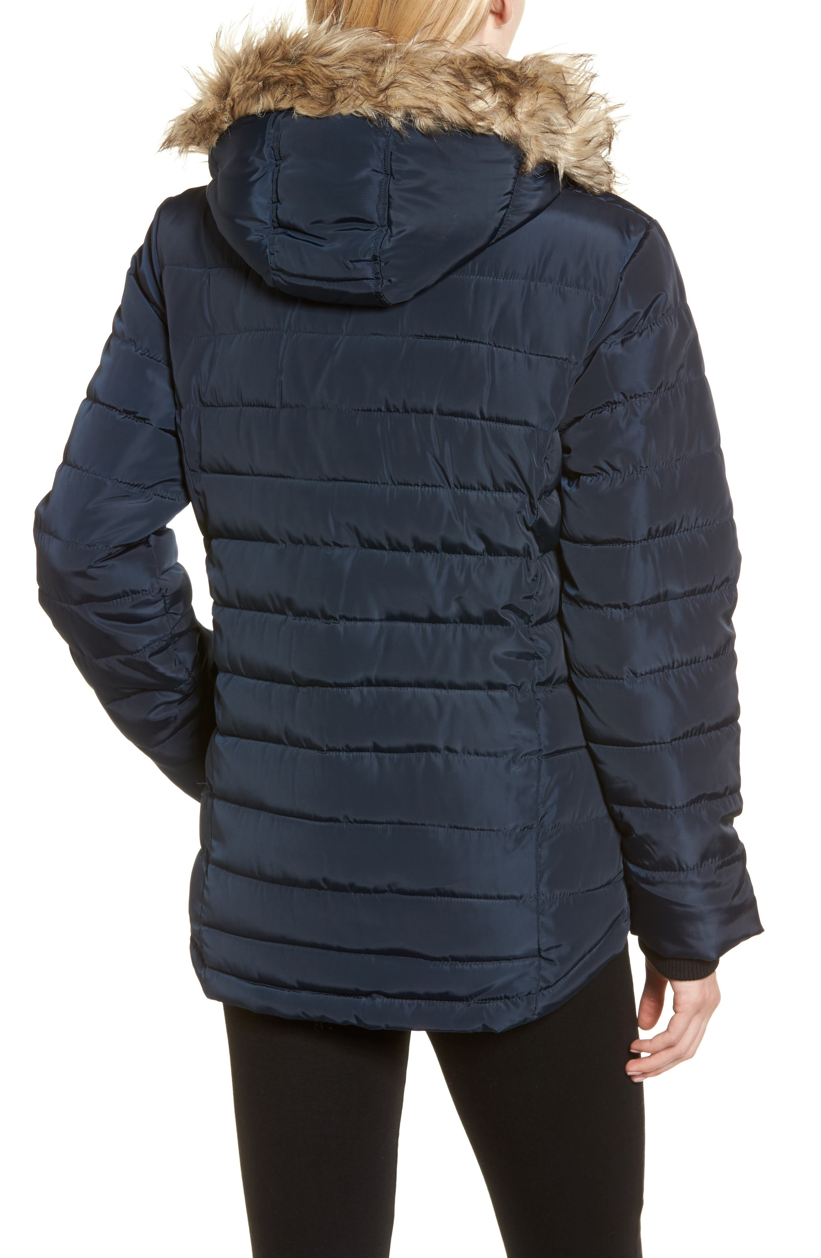 Faux Fur Trim Hooded Puffer Jacket,                             Alternate thumbnail 2, color,                             Navy