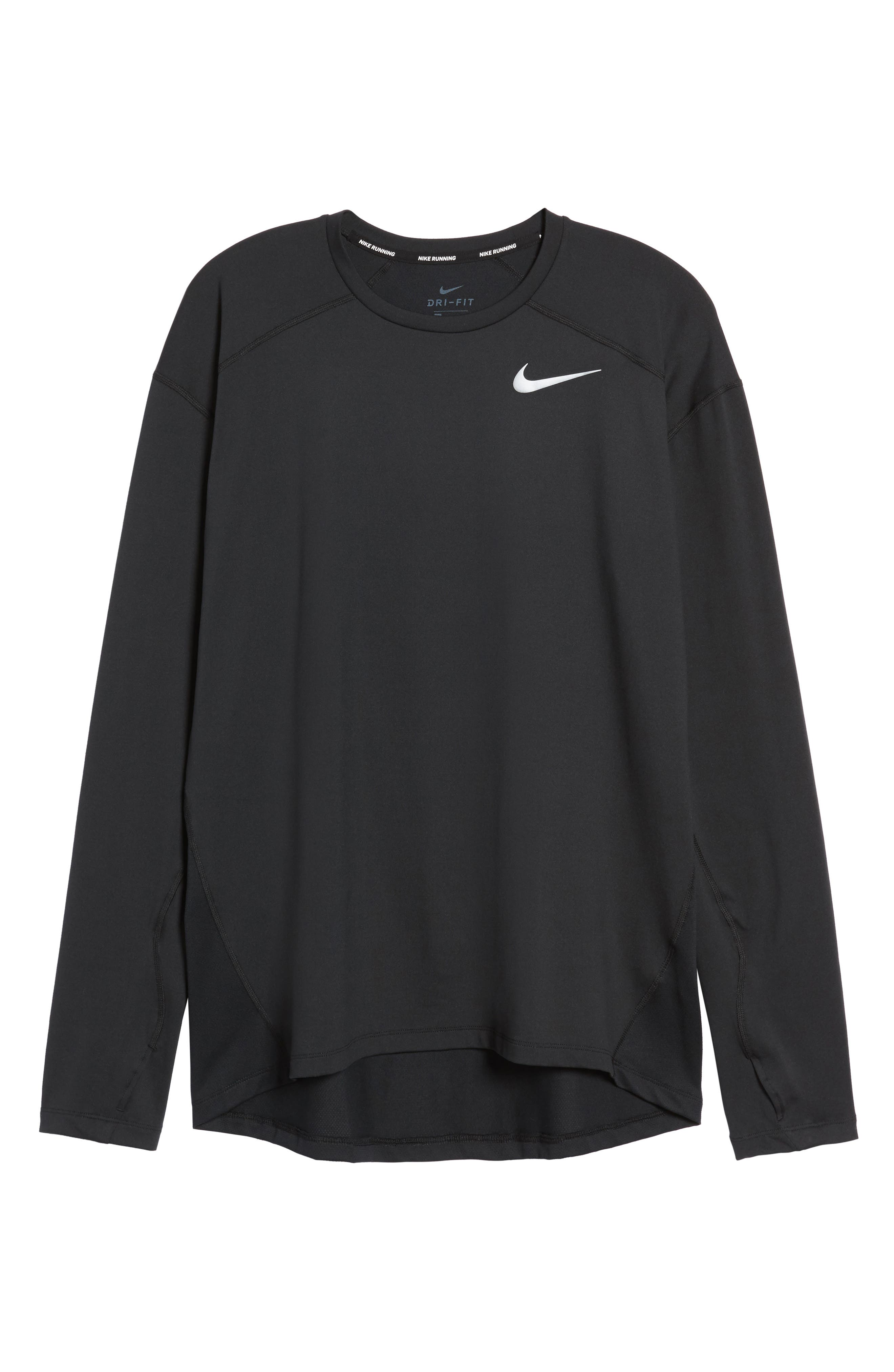 Running Dry Element Long Sleeve T-Shirt,                             Alternate thumbnail 6, color,                             Black