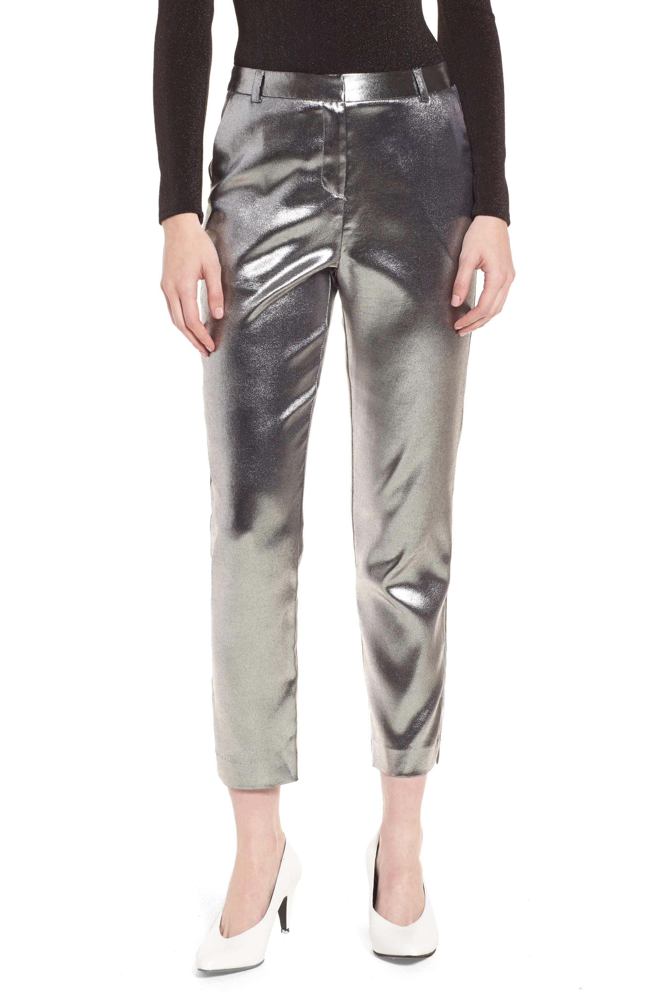 Metallic Suit Trousers,                             Main thumbnail 1, color,                             Silver