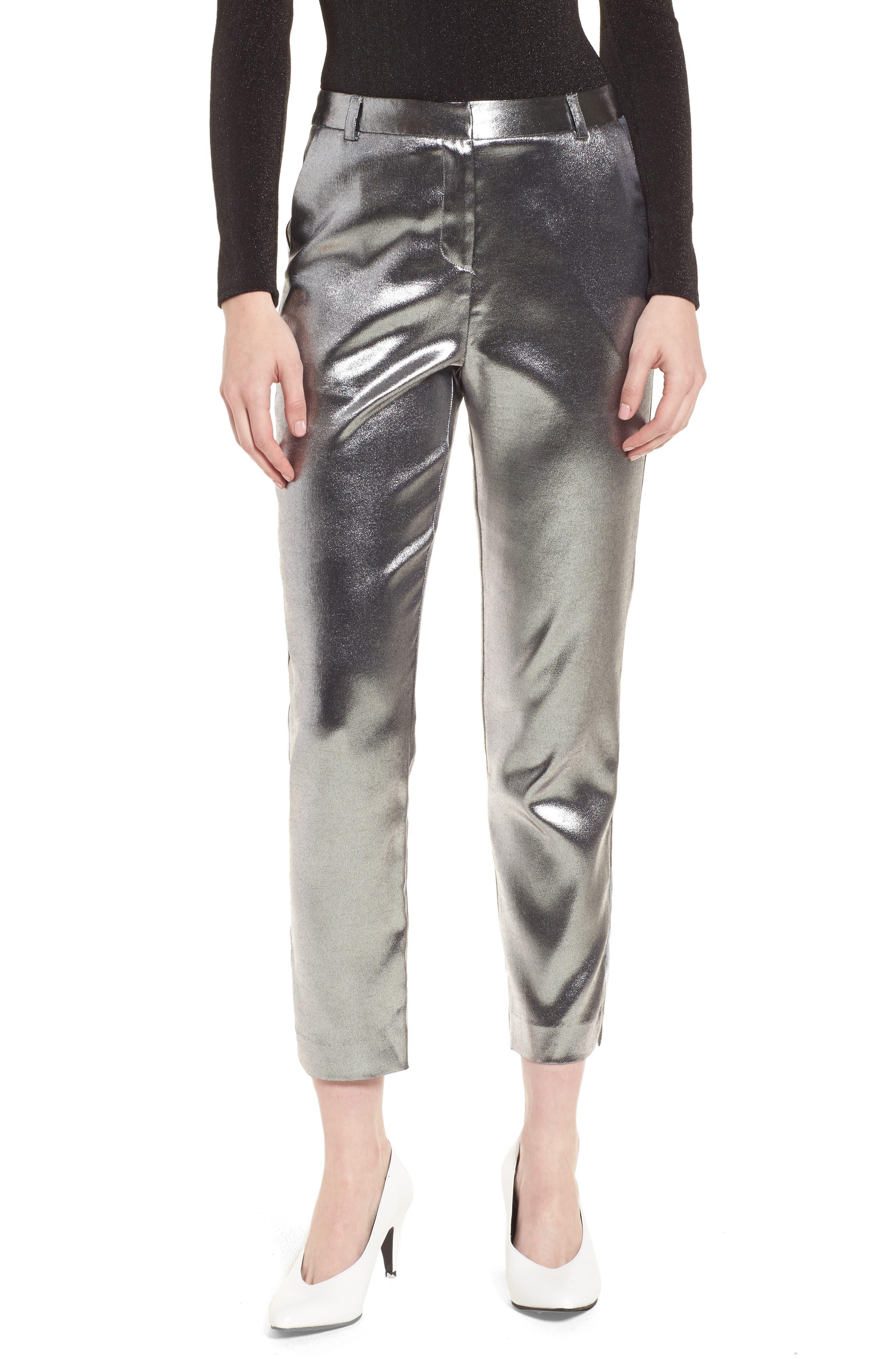 Metallic Suit Trousers,                         Main,                         color, Silver