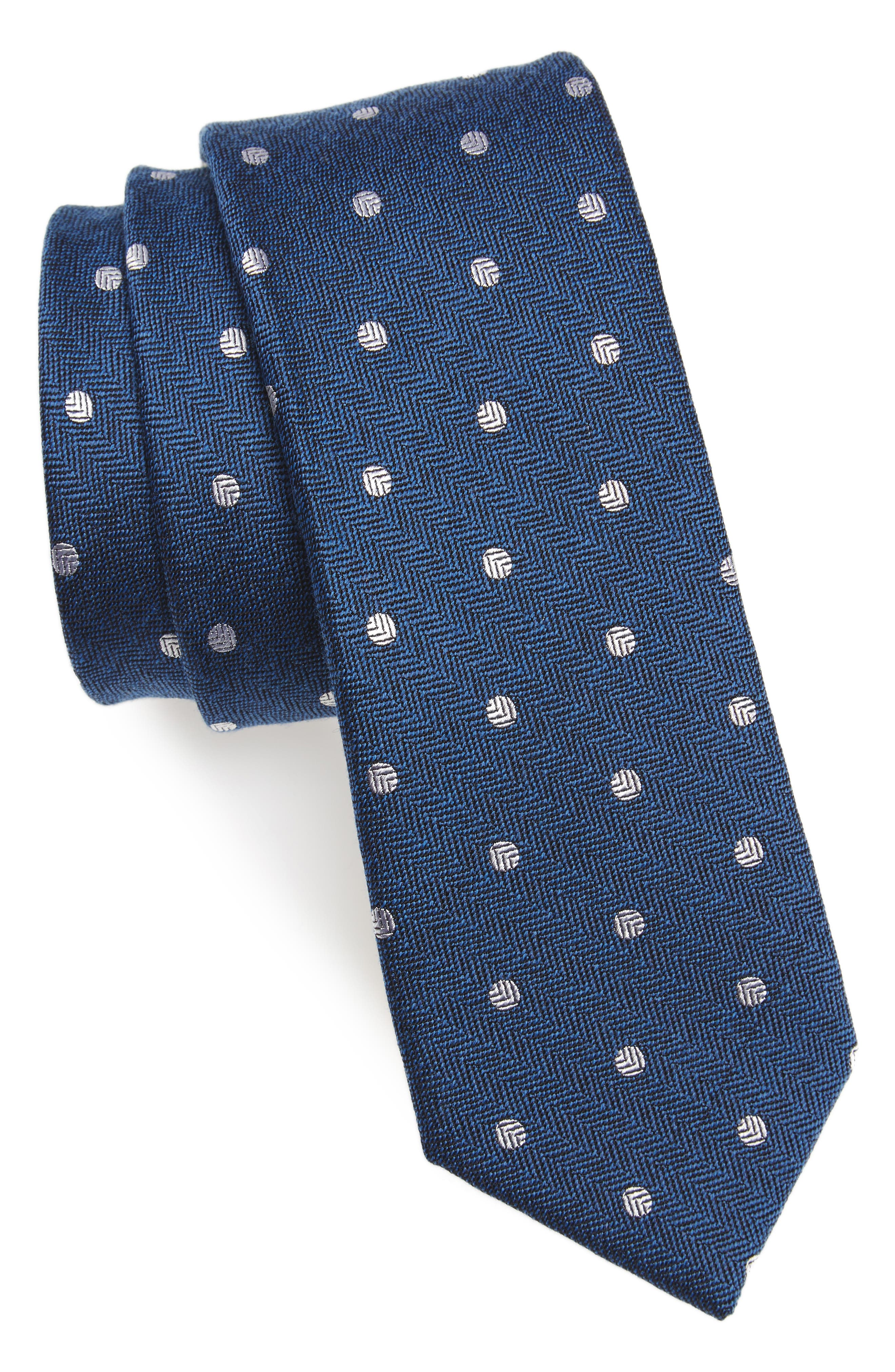 Dotted Hitch Silk & Wool Skinny Tie,                             Main thumbnail 1, color,                             Classic Blue