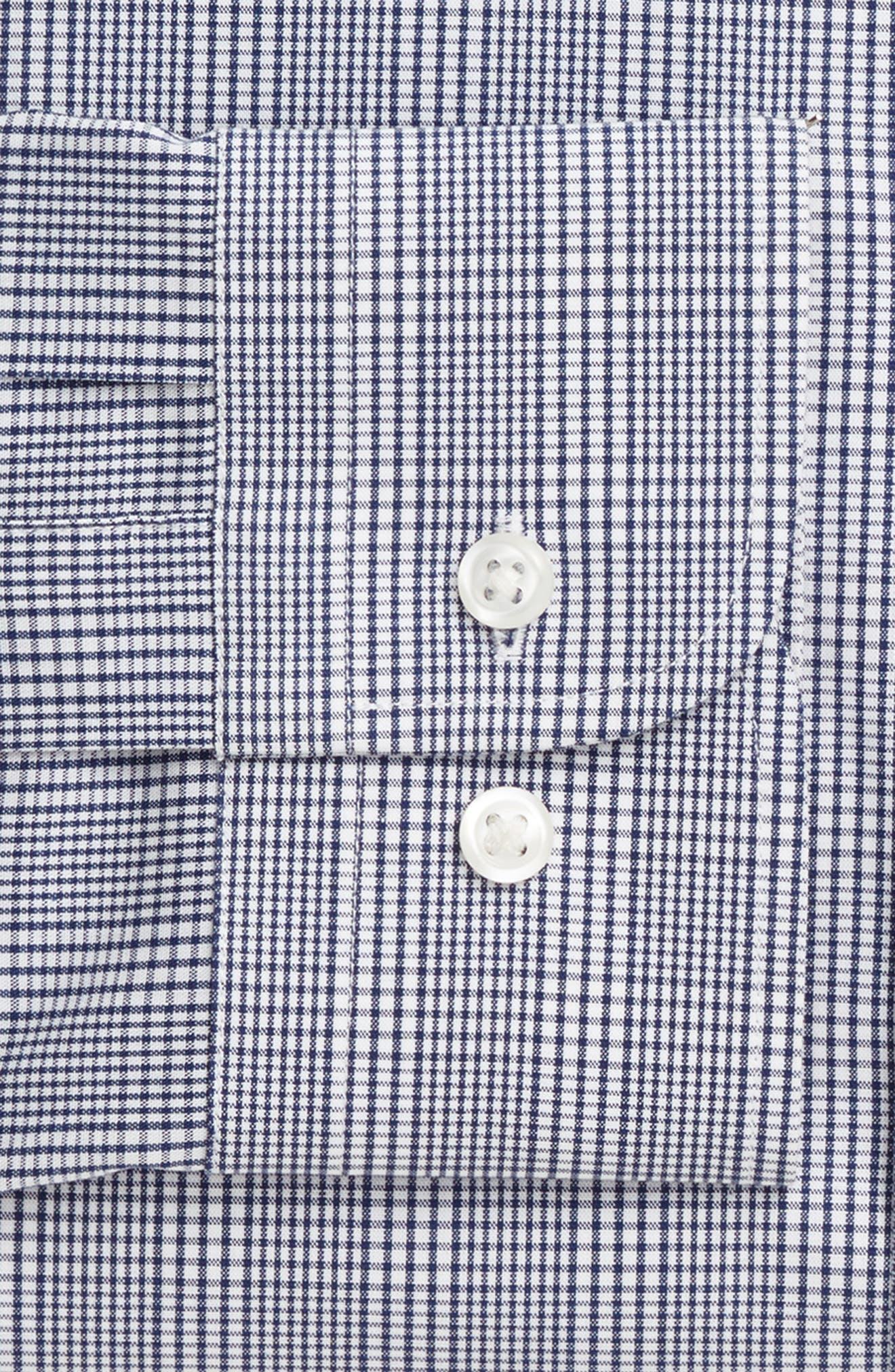 Tech-Smart Trim Fit Stretch Plaid Dress Shirt,                             Alternate thumbnail 3, color,                             Blue Twilight