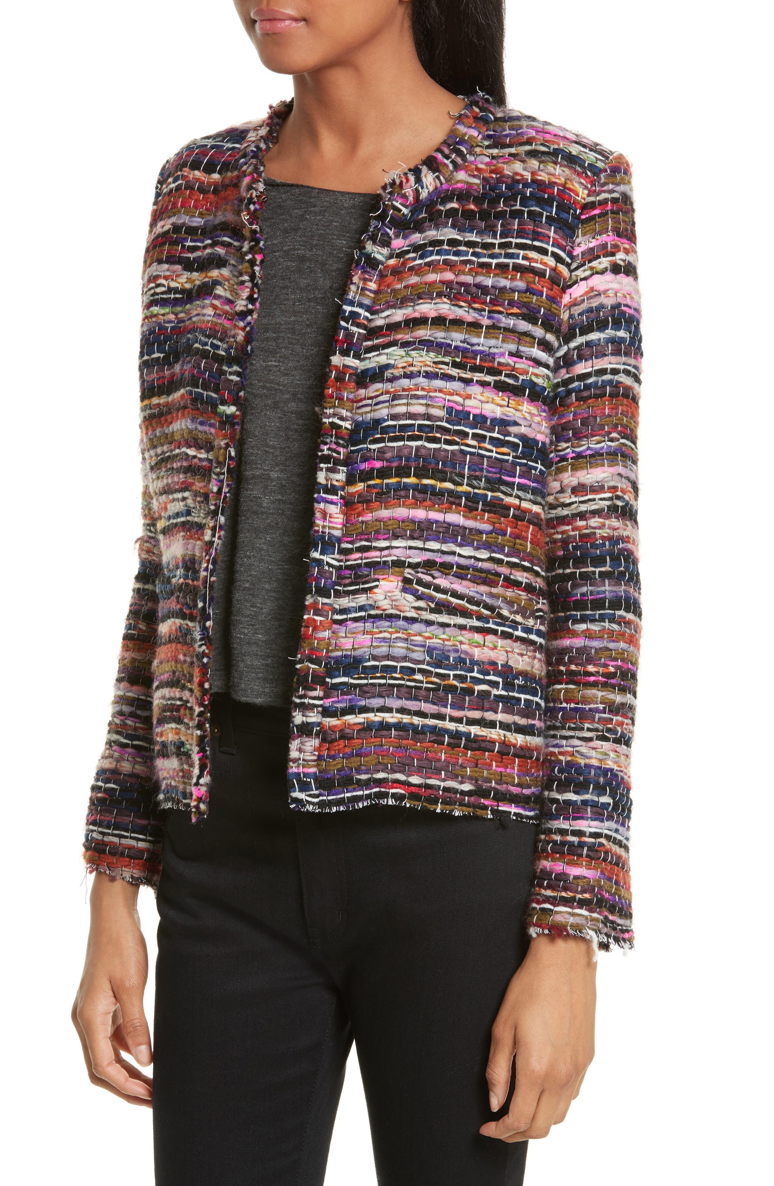 Namanta Tweed Jacket,                             Alternate thumbnail 3, color,                             Mulberry