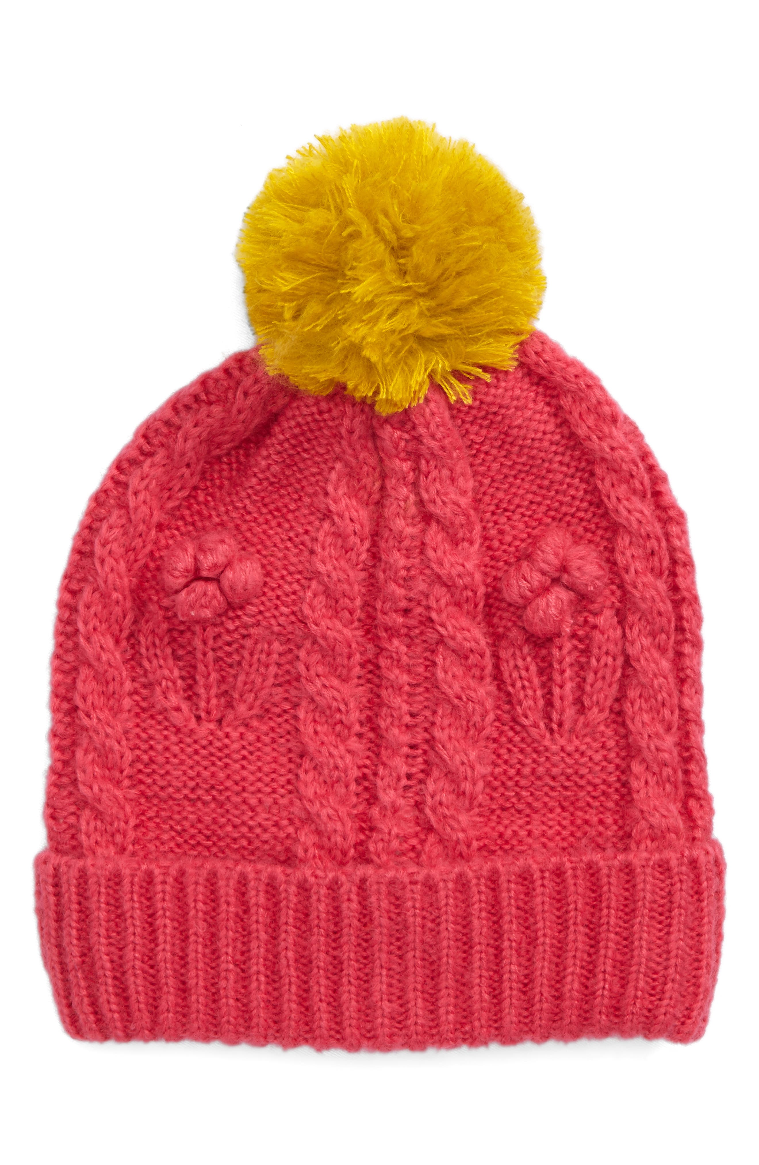 Main Image - Mini Boden Pompom Cable Knit Beanie (Girls)