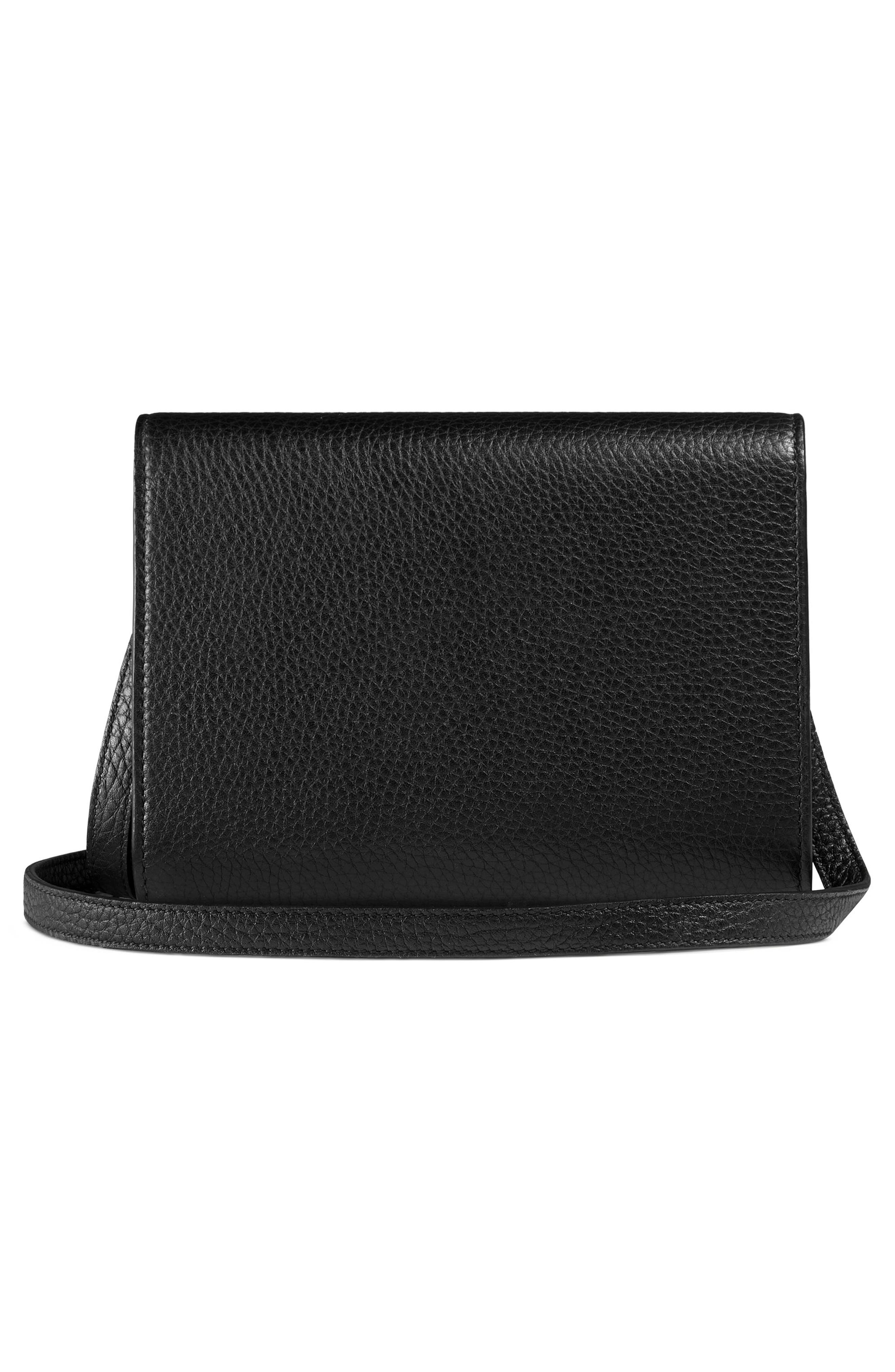 Animalier Bee Leather Wallet,                             Alternate thumbnail 3, color,                             Nero