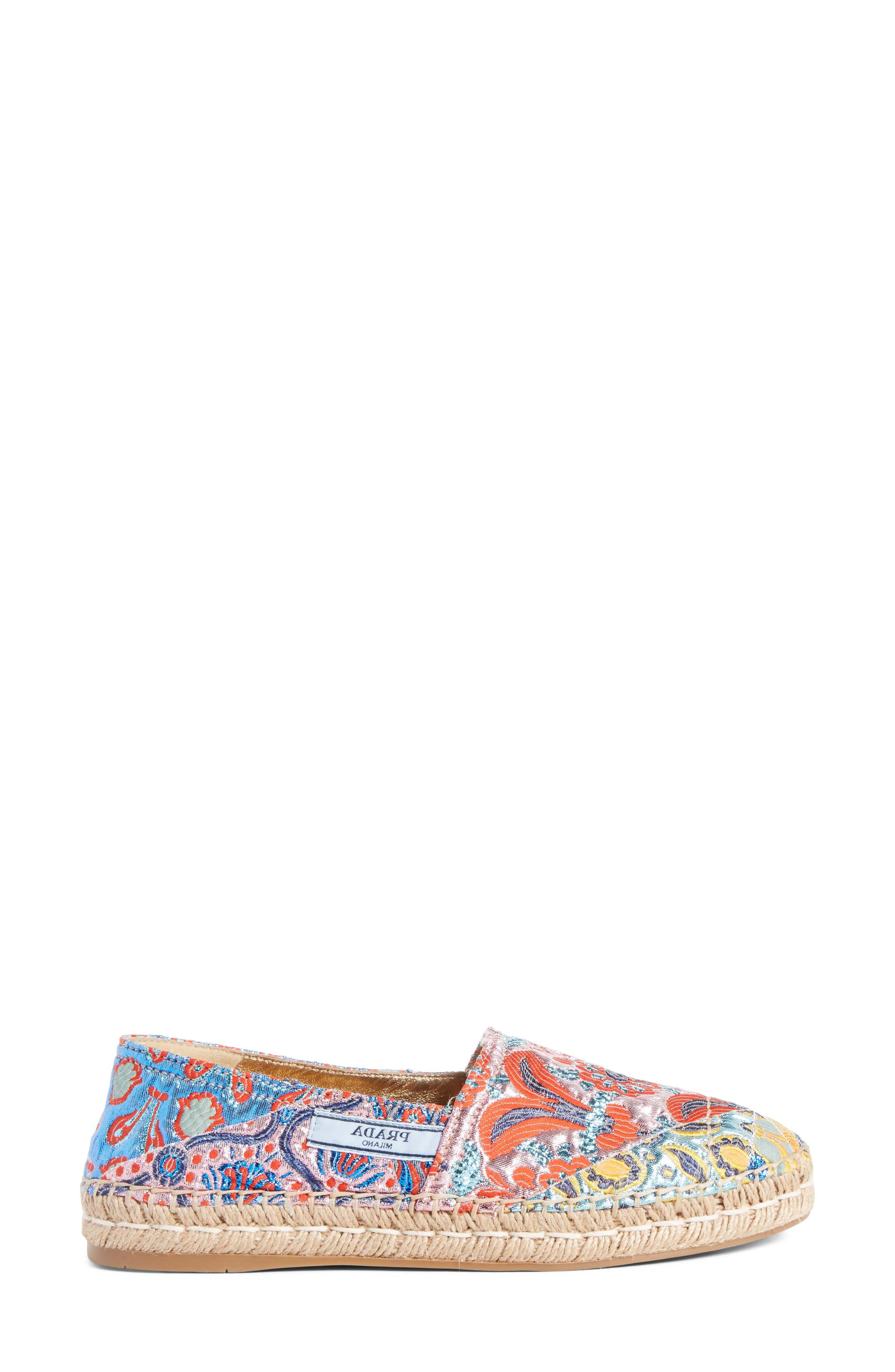 Floral Embroidered Espadrille Flat,                             Alternate thumbnail 4, color,                             Pink Multi