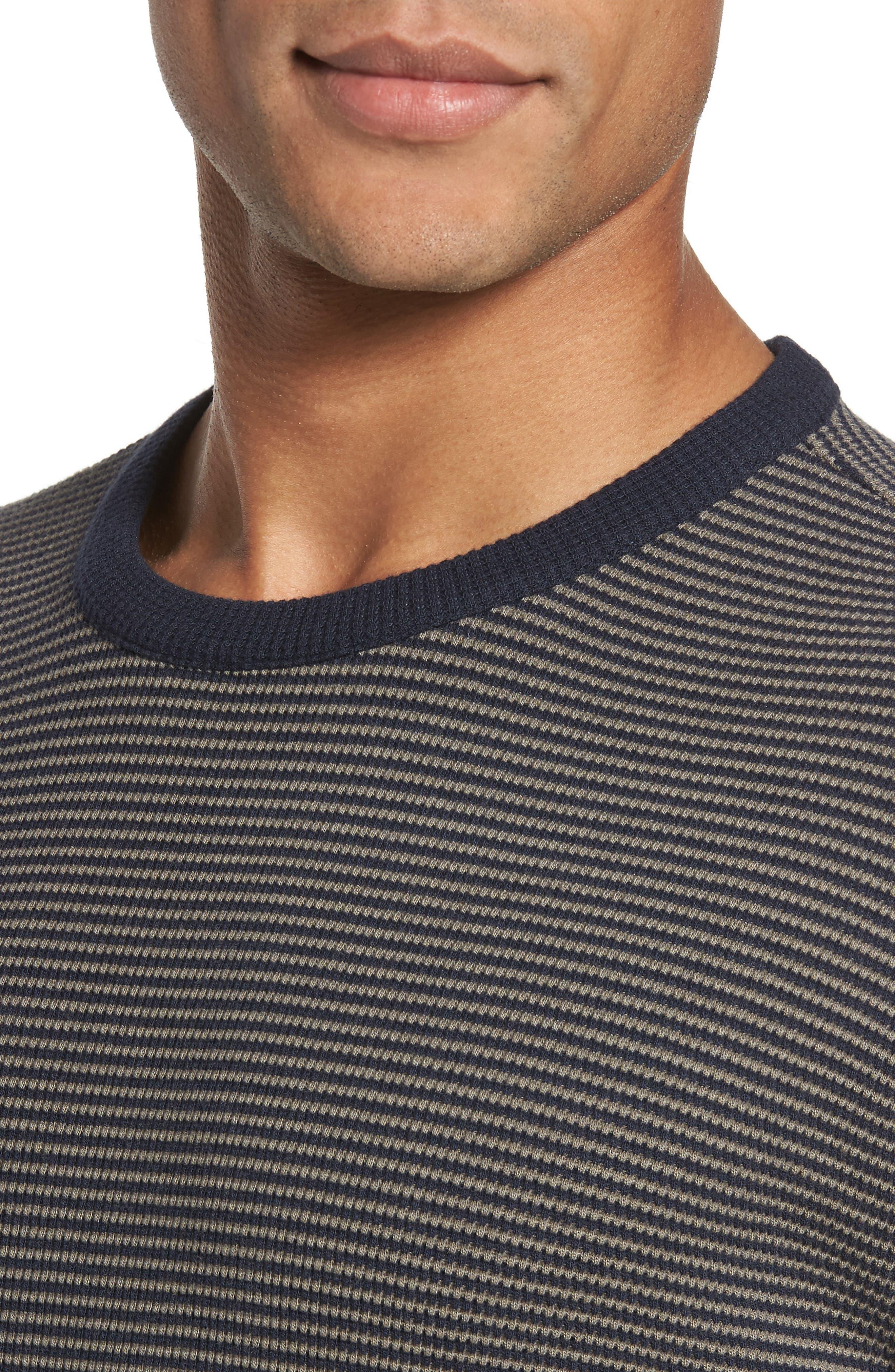 Slim Fit Waffle Knit T-Shirt,                             Alternate thumbnail 4, color,                             Oak/ Stormy Night