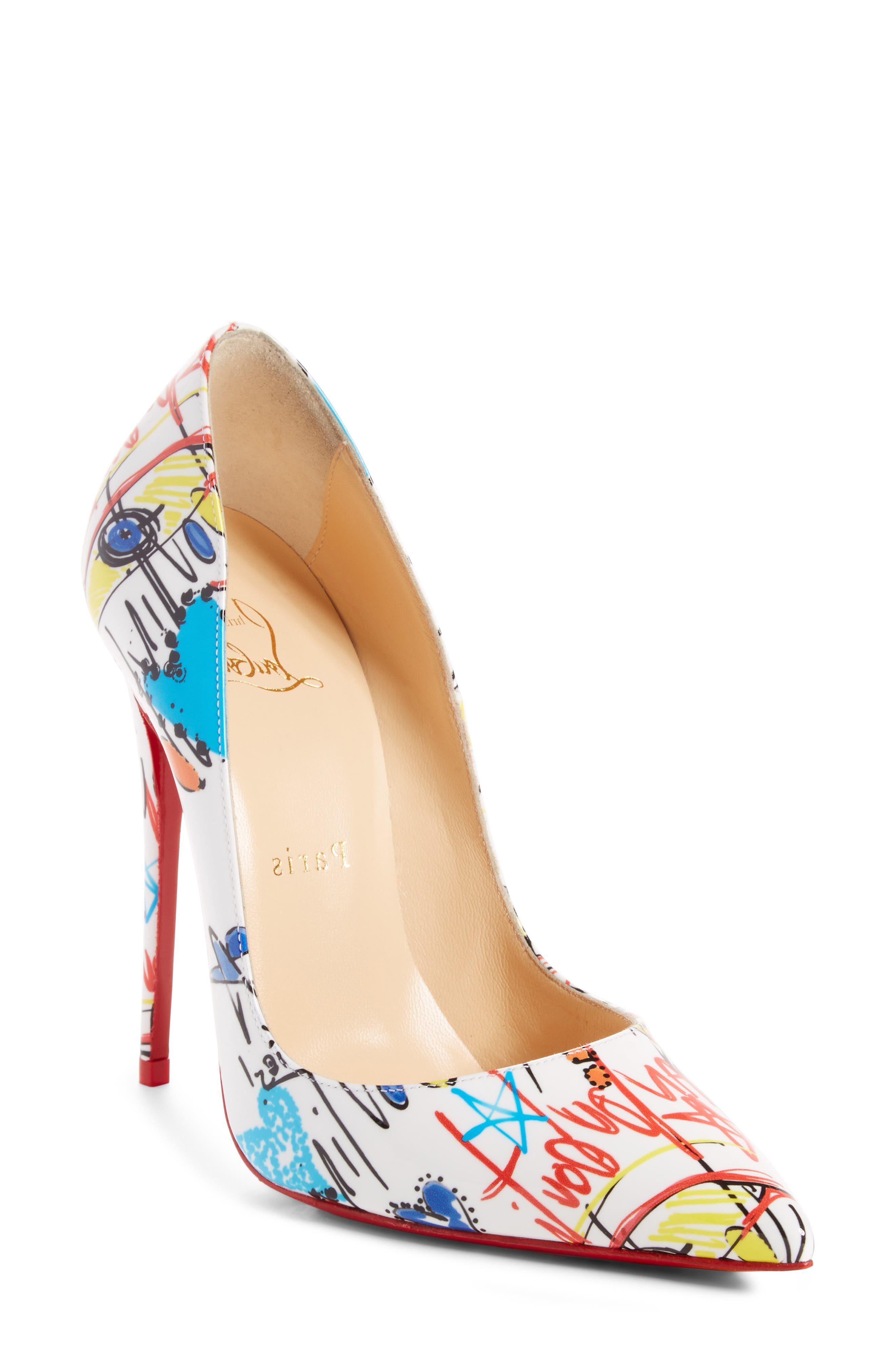 Christian Louboutin Pigalle Follies Loubitag Red Sole Pump In White Pattern