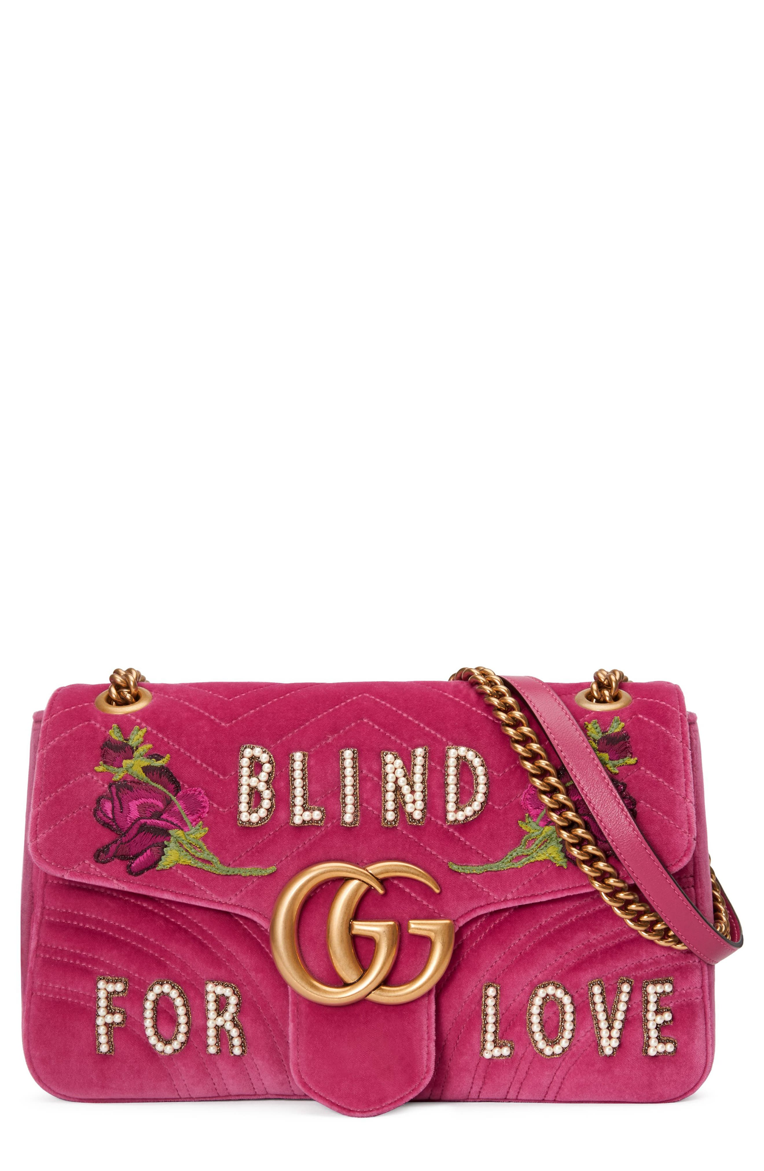 Main Image - Gucci GG Marmont 2.0 Imitation Pearl Embellished Velvet Crossbody Bag