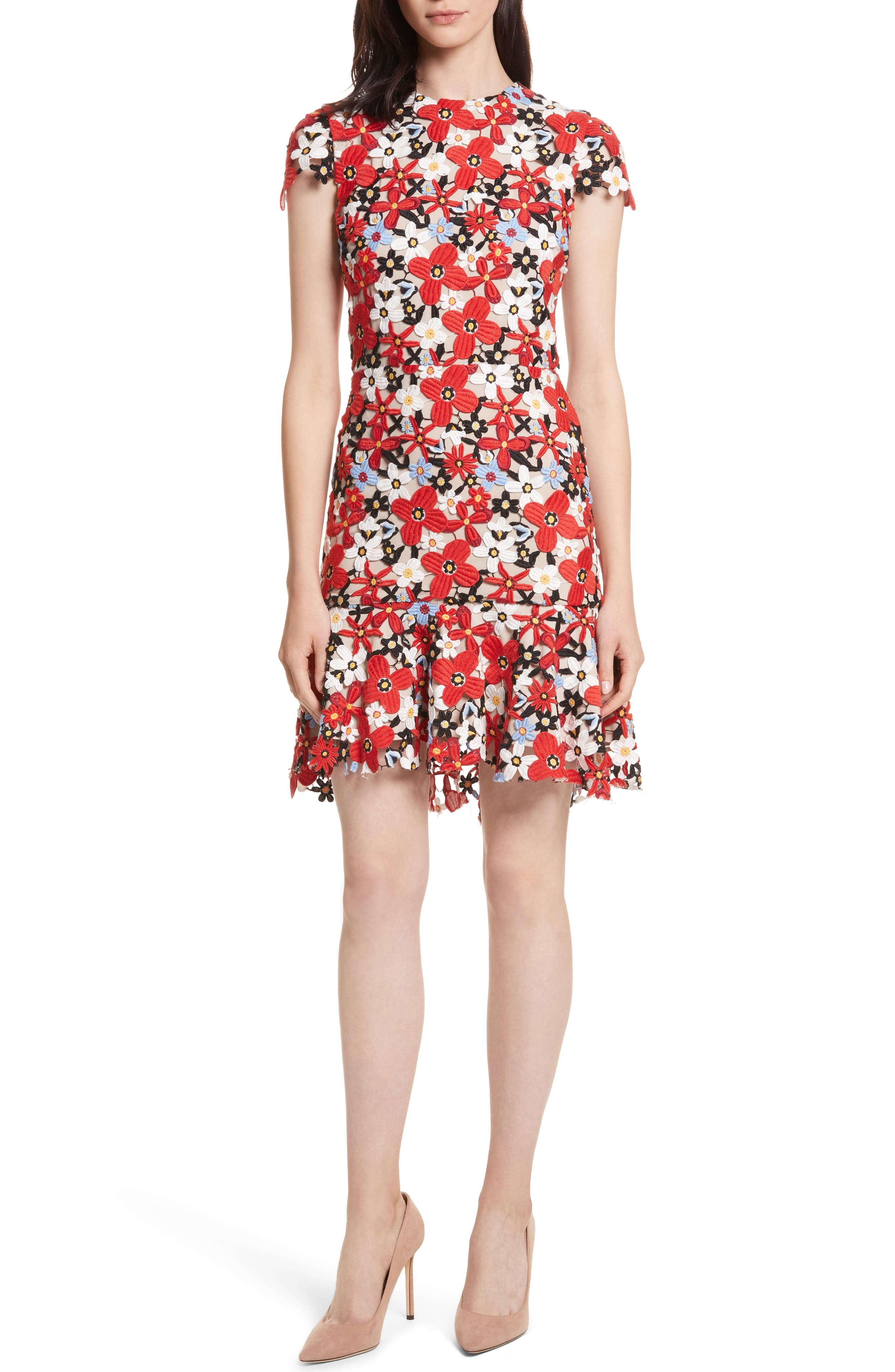 Main Image - Alice + Olivia Imani Floral Fit & Flare Dress