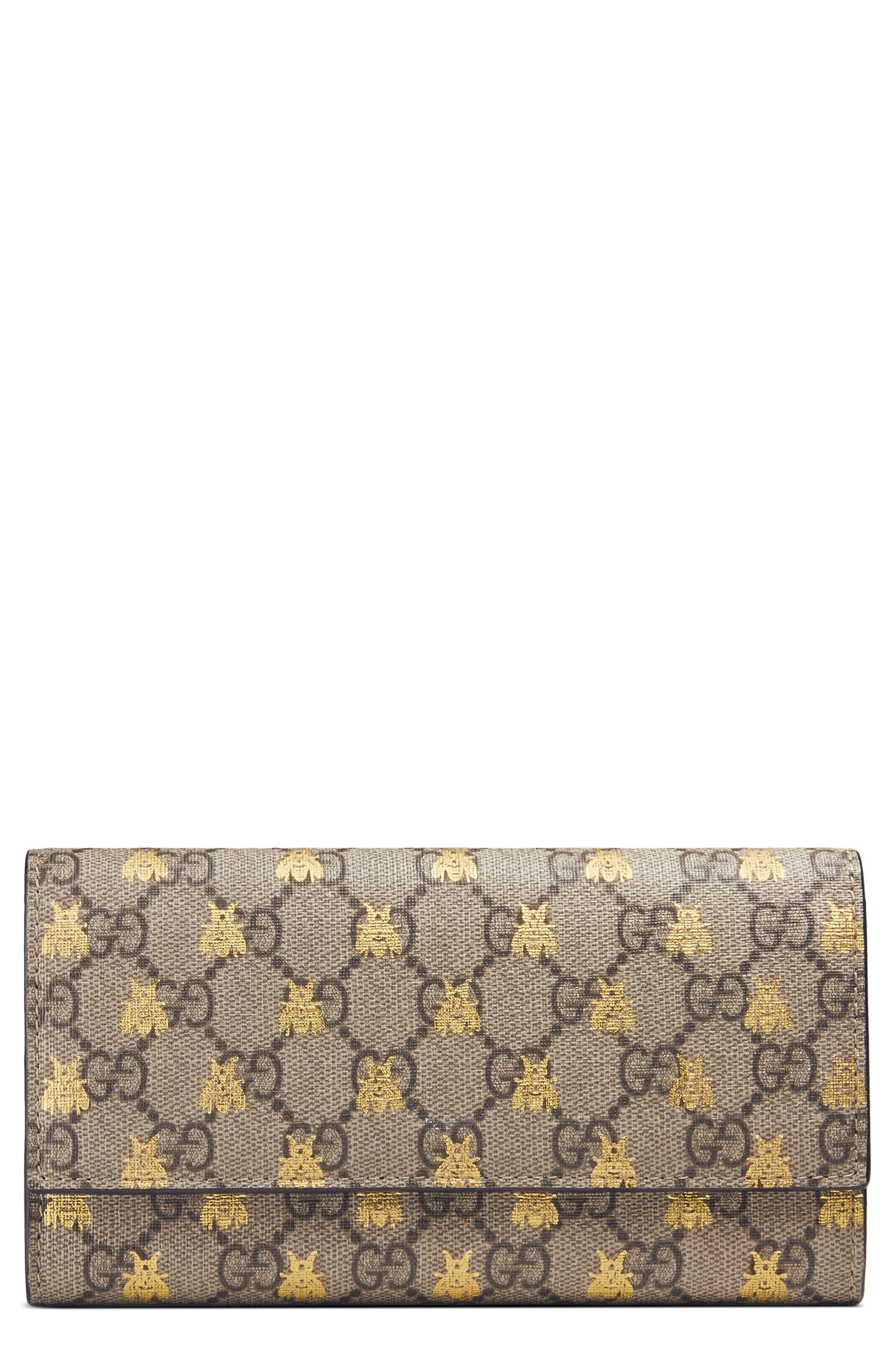 Gucci Linea Bee GG Supreme Continental Wallet