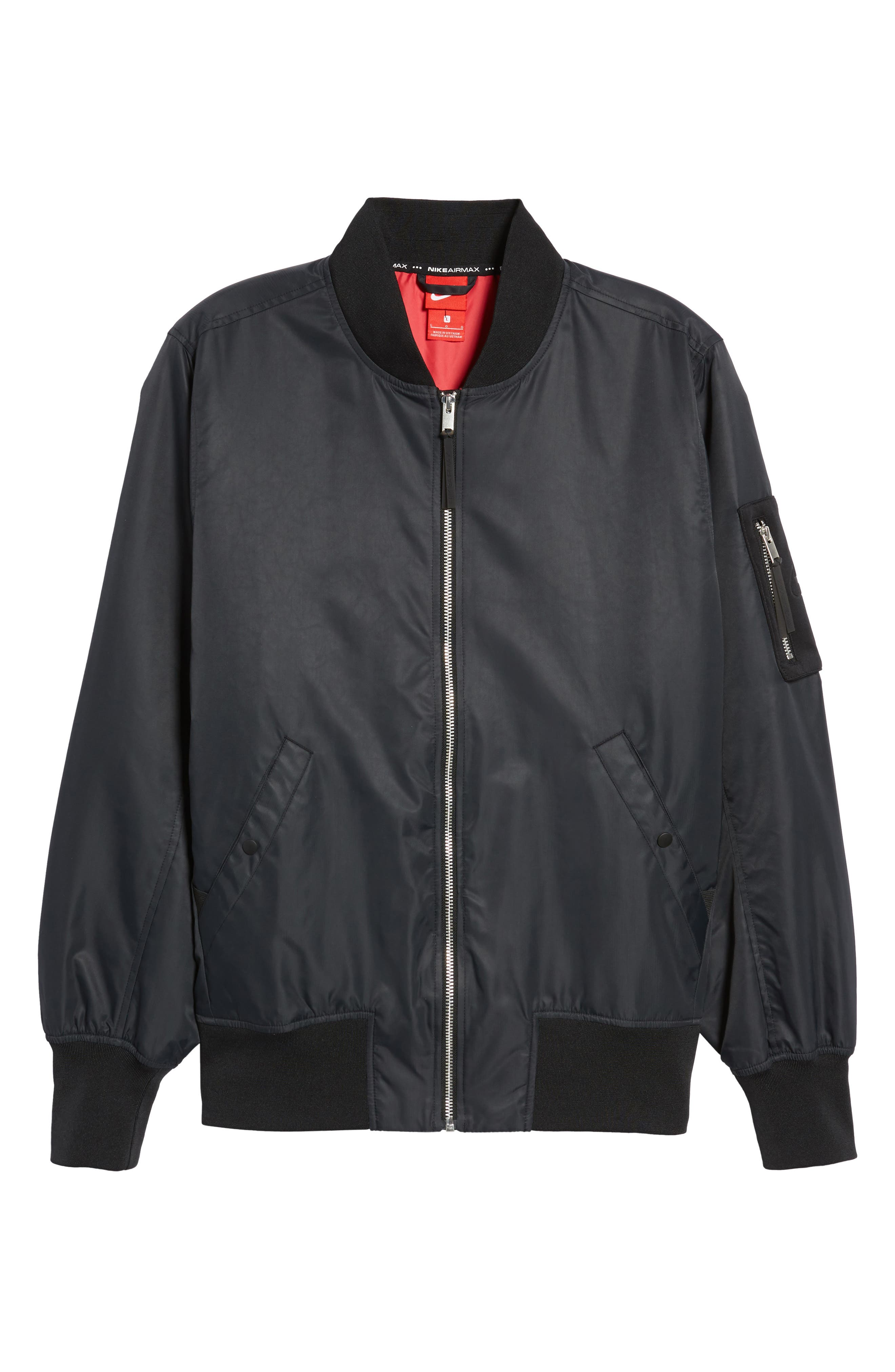 NSW Air Max Woven Bomber Jacket,                             Alternate thumbnail 7, color,                             Black/ Black