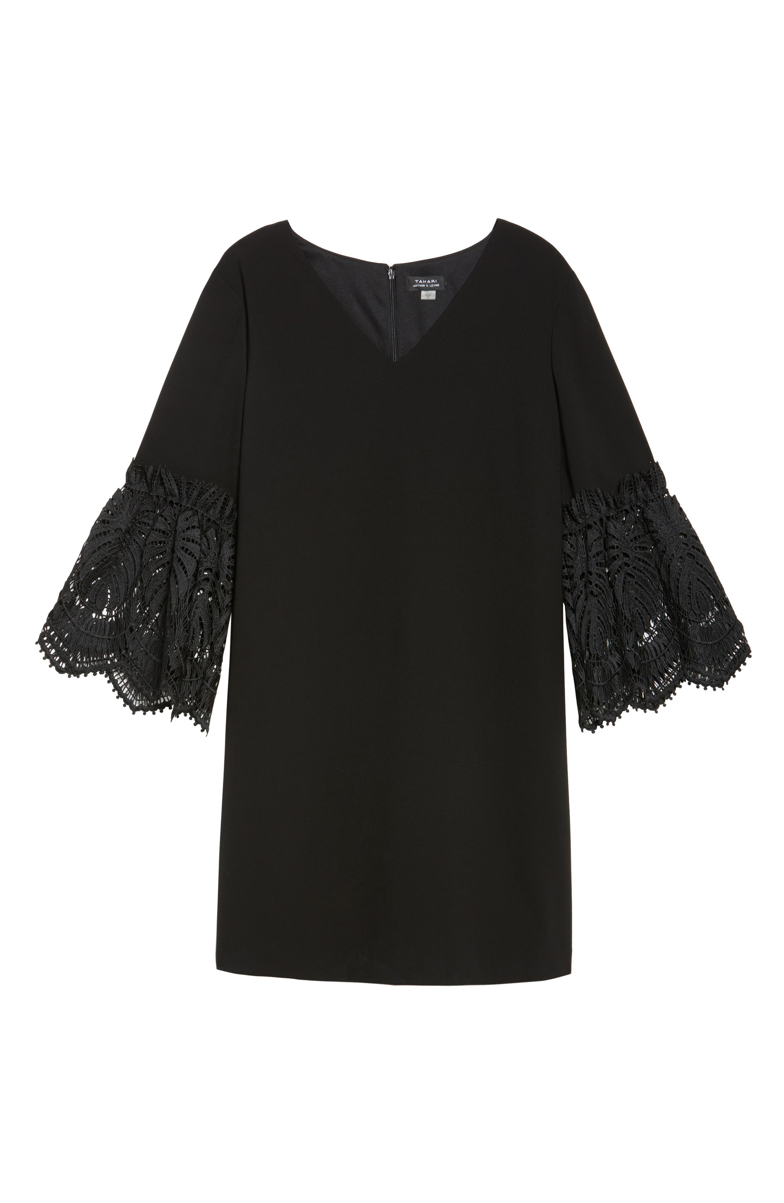 Lace Bell Sleeve Shift Dress,                             Alternate thumbnail 6, color,                             Black