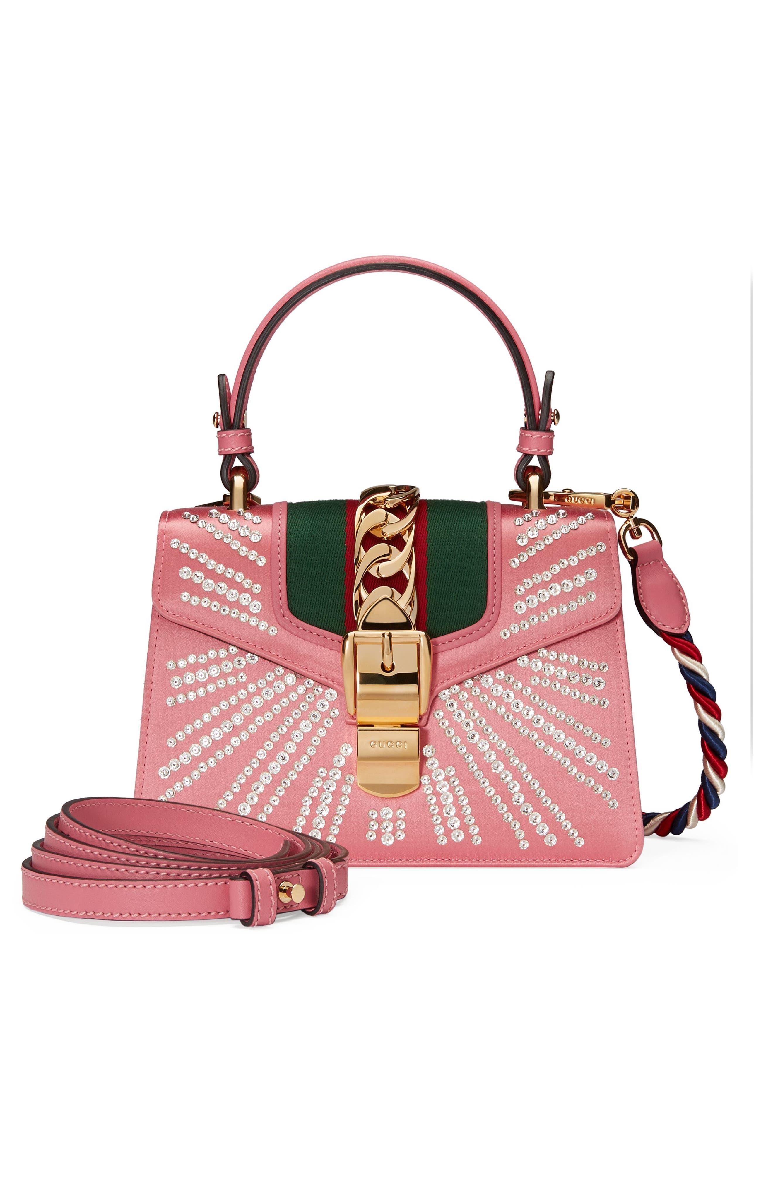 Mini Sylvie Crystal Burst Top Handle Leather Shoulder Bag,                             Alternate thumbnail 5, color,                             Peony/ Crystal/ Mystic White