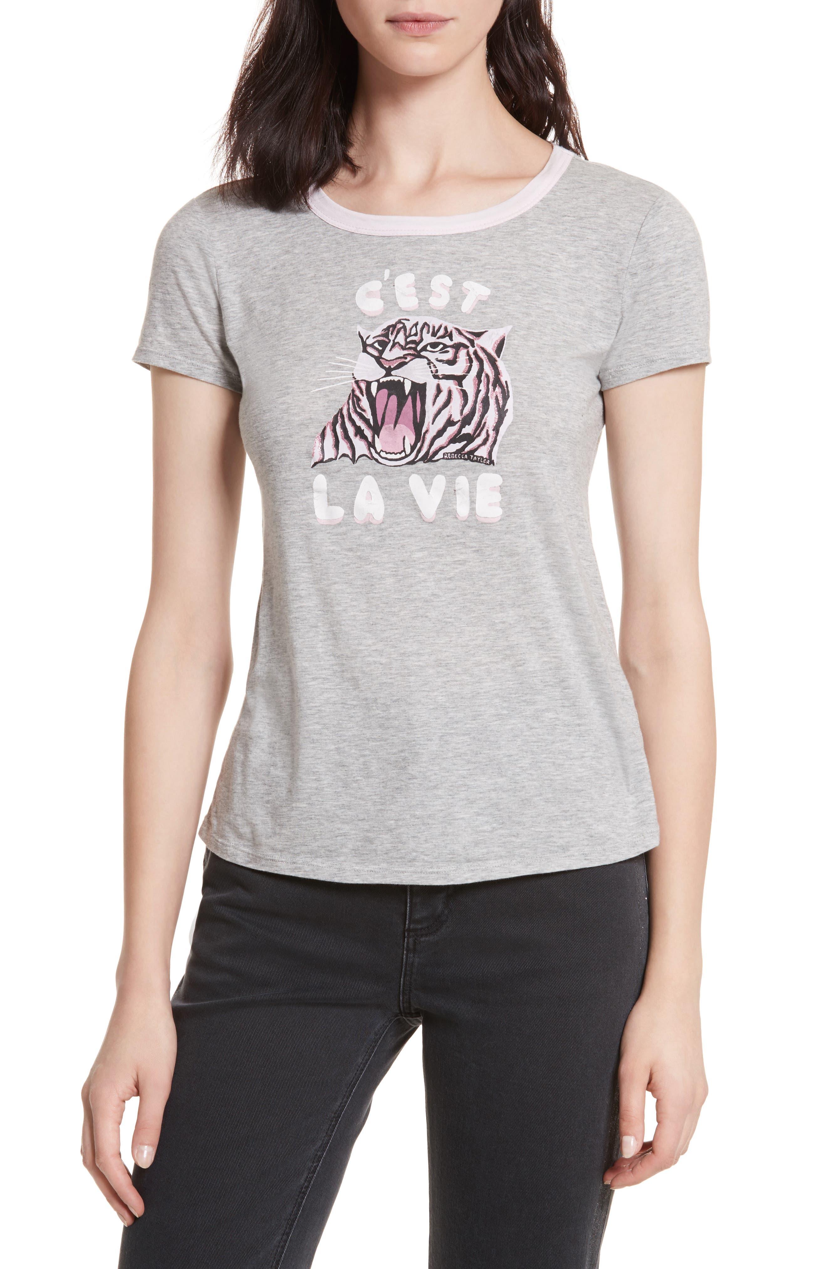 Tiger Logo Tee,                         Main,                         color, Grey Heather